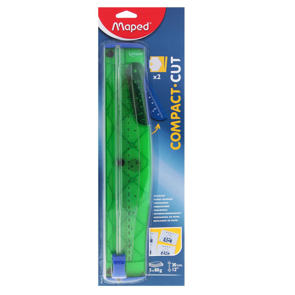 Мини-резак для бумаги Maped Compact, цвет: зеленый89300_зеленыйПрактичный мини-резак для бумаги Compact для бумаги формата А4 с нескользящей основой удобен в использовании и снабжен полупрозрачной градуированной линейкой в сантиметрах и дюймах. Мини-резак предназначен для качественной резки листовых материалов.В комплект входит запасной нож.