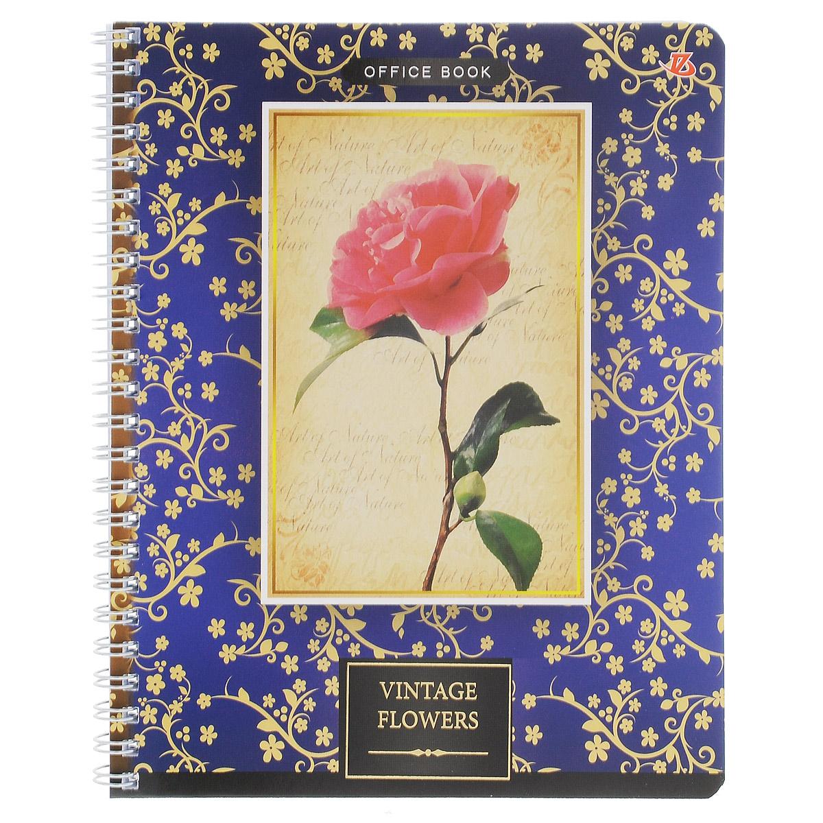 Тетрадь в клетку Vintage Flowers: Роза, на гребне, цвет: синий, 80 листов. 6660/36660/3_РозаТетрадь на гребне Vintage Flowers: Роза подойдет для любых работ и студенту, и школьнику.Фактурная обложка тетради с элементами золотого тиснения выполнена из мелованного картона с закругленными углами.Внутренний блок тетради соединен металлической пружиной и состоит из 80 листов высококачественной бумаги повышенной белизны в клетку.