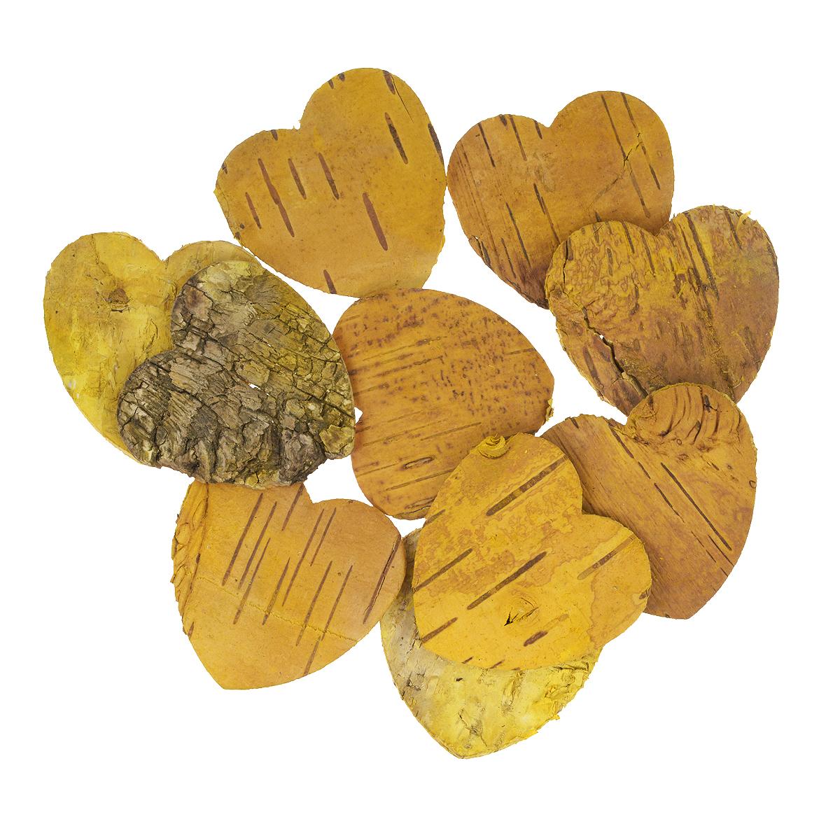 Декоративный элемент Dongjiang Art Сердце, цвет: желтый, 10 шт7709004Декоративный элемент Dongjiang Art Сердце, изготовленный из натуральной коры дерева, предназначен для украшения цветочных композиций. Изделие можно также использовать в технике скрапбукинг и многом другом. Флористика - вид декоративно-прикладного искусства, который использует живые, засушенные или консервированные природные материалы для создания флористических работ. Это целый мир, в котором есть место и строгому математическому расчету, и вдохновению.