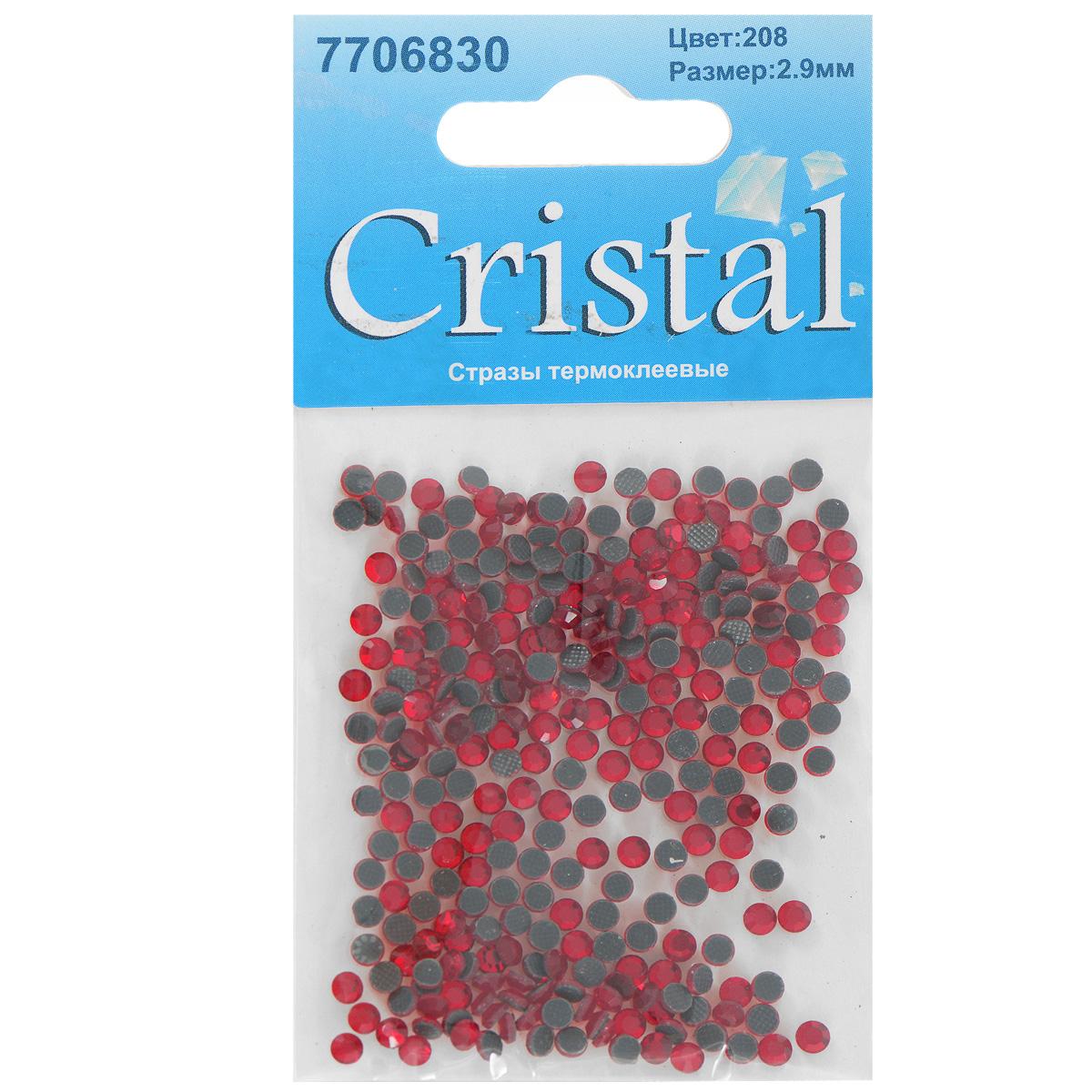 Стразы термоклеевые Cristal, цвет: красный (208), диаметр 2,9 мм, 288 шт7706830_208Набор термоклеевых страз Cristal, изготовленный из высококачественного акрила, позволит вам украсить одежду, аксессуары или текстиль. Яркие стразы имеют плоское дно и круглую поверхность с гранями.Дно термоклеевых страз уже обработано особым клеем, который под воздействием высоких температур начинает плавиться, приклеиваясь, таким образом, к требуемой поверхности. Чаще всего их используют в текстильной промышленности: стразы прикладывают к ткани и проглаживают утюгом с обратной стороны. Также можно использовать специальный паяльник. Украшение стразами поможет сделать любую вещь оригинальной и неповторимой. Диаметр страз: 2,9 мм.