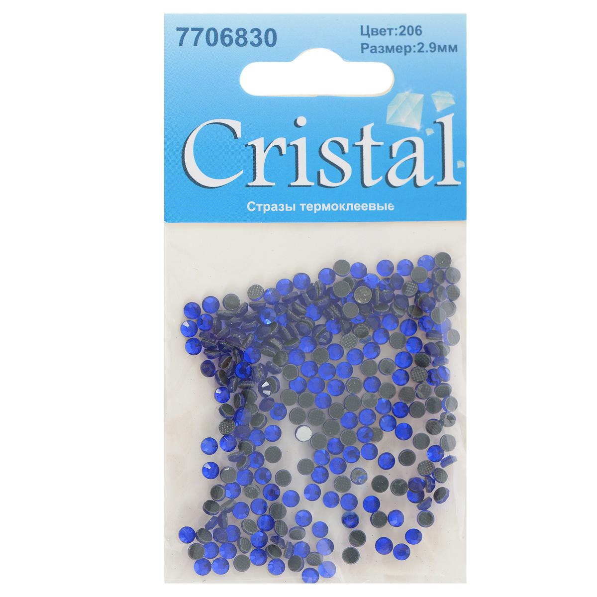 Стразы термоклеевые Cristal, цвет: синий (206), диаметр 2,9 мм, 288 шт7706830_206Набор термоклеевых страз Cristal, изготовленный из высококачественного акрила, позволит вам украсить одежду, аксессуары или текстиль. Яркие стразы имеют плоское дно и круглую поверхность с гранями.Дно термоклеевых страз уже обработано особым клеем, который под воздействием высоких температур начинает плавиться, приклеиваясь, таким образом, к требуемой поверхности. Чаще всего их используют в текстильной промышленности: стразы прикладывают к ткани и проглаживают утюгом с обратной стороны. Также можно использовать специальный паяльник. Украшение стразами поможет сделать любую вещь оригинальной и неповторимой. Диаметр страз: 2,9 мм.