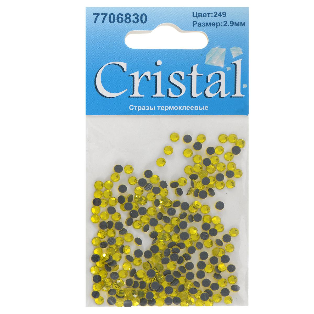 Стразы термоклеевые Cristal, цвет: желтый (249), диаметр 2,9 мм, 288 шт7706830_249Набор термоклеевых страз Cristal, изготовленный из высококачественного акрила, позволит вам украсить одежду, аксессуары или текстиль. Яркие стразы имеют плоское дно и круглую поверхность с гранями.Дно термоклеевых страз уже обработано особым клеем, который под воздействием высоких температур начинает плавиться, приклеиваясь, таким образом, к требуемой поверхности. Чаще всего их используют в текстильной промышленности: стразы прикладывают к ткани и проглаживают утюгом с обратной стороны. Также можно использовать специальный паяльник. Украшение стразами поможет сделать любую вещь оригинальной и неповторимой. Диаметр страз: 2,9 мм.