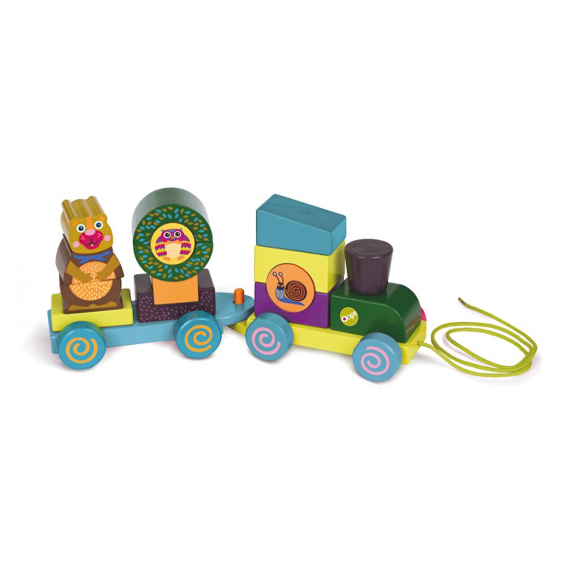 Конструктор-каталка деревянный OOPS Fun Forest Train, 17 элементов деревянный пазл oops собака 9 элементов