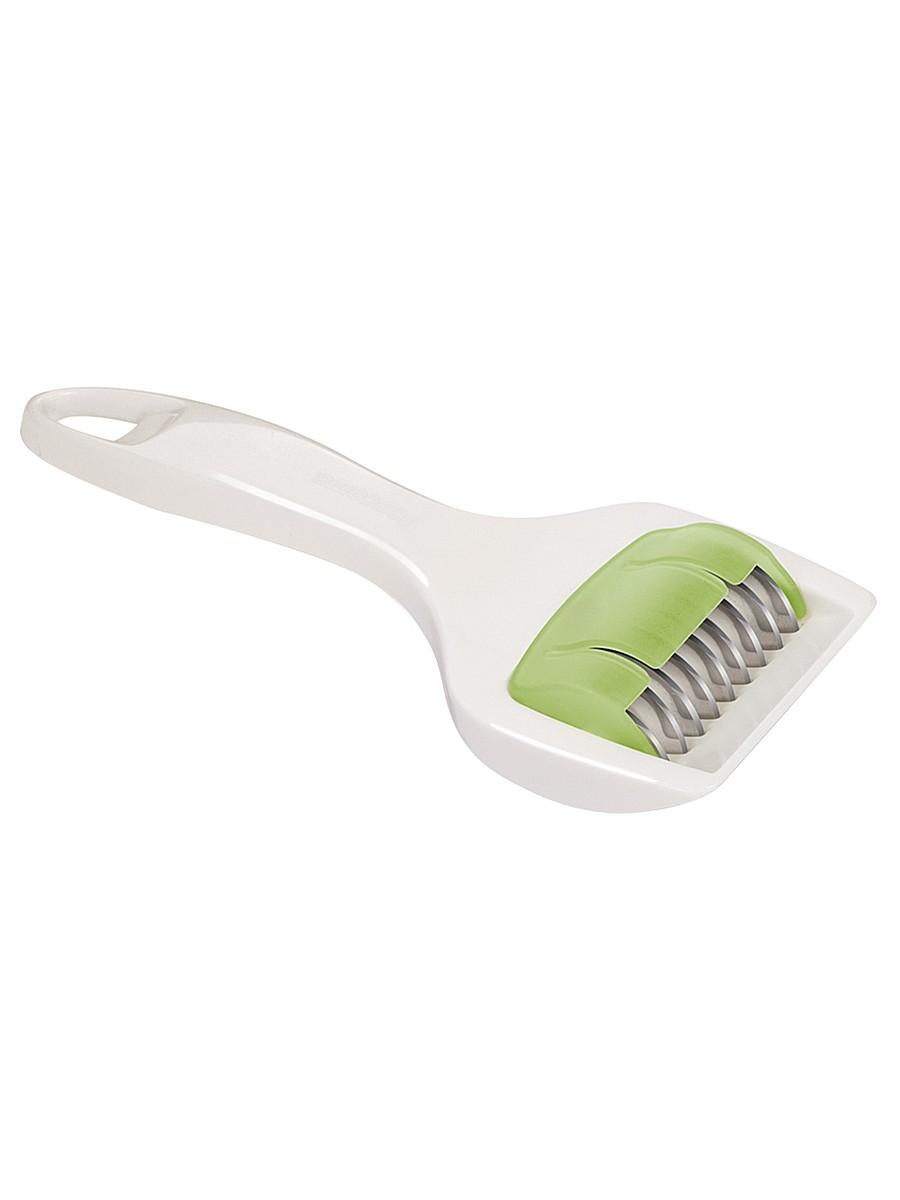 """Нож Tescoma """"Presto"""" идеально подходит для легкой и быстрой нарезки зелени и пряностей. Лезвия изготовлены из первоклассной нержавеющей стали. Пластиковая рукоятка эргономичной формы позволит комфортно и безопасно нарезать зелень.Можно мыть раскрытым в посудомоечной машине.Внимание! Лезвия очень острые, при нарезке всегда используйте защитный вкладыш и будьте очень внимательны.Диаметр лезвия: 3 см. Ширина рабочей поверхности: 5 см."""
