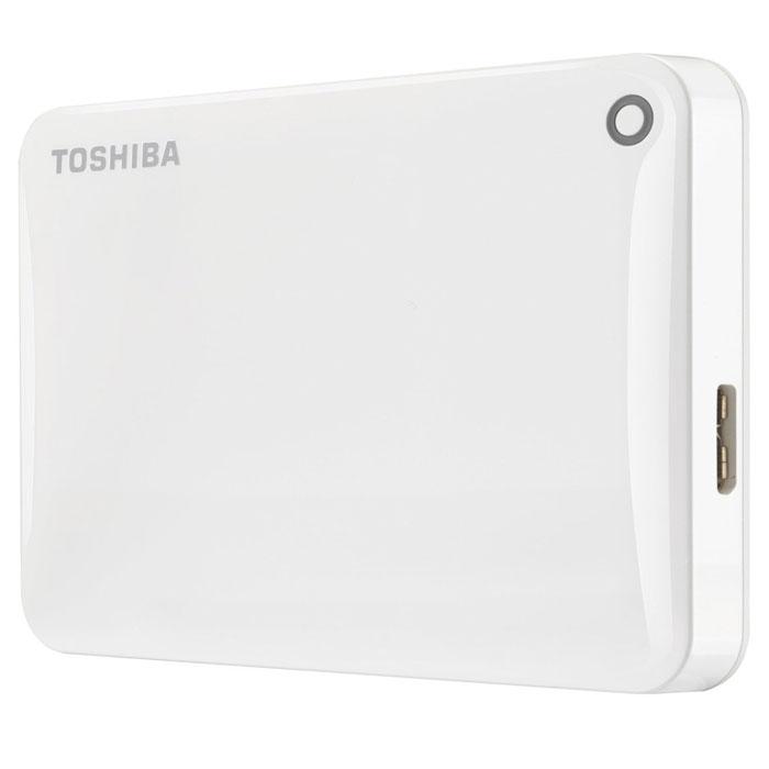 Toshiba Canvio Connect II 2TB, White внешний жесткий диск (HDTC820EW3CA)HDTC820EW3CAToshiba Canvio Connect II дает вам возможность быстро передавать файлы с интерфейсом USB 3.0 и хранить до 3 ТБ данных на внешнем жестком диске. Устройство полностью готово для работы с Microsoft Windows и не требует установки программного обеспечения, так что ничего не может быть удобнее для хранения всех ваших любимых файлов. В офисе или в дороге его классический дизайн будет всегда уместен. Более того, Toshiba Canvio Connect II позволяет подключаться также и к оборудованию с совместимостью USB 2.0.Этот внешний накопитель обеспечивает доступ к вашим файлам практически из любого места и с любого устройства. Toshiba Canvio Connect II может легко превратить ваш компьютер в облачный сервер благодаря предустановленному ПО для удаленного доступа (накопитель должен быть подключен к компьютеру и Wi-Fi). Помимо удаленного доступа это устройство предоставляет своему владельцу 10 ГБ дополнительного места в облачном сервисе. Программное обеспечение NTI Backup Now EZ обеспечивает удобное и надежное создание резервных копий и восстановление всех ваших папок, файлов и операционной системы.Canvio Connect II оборудован датчиком ударов, сигнал которого переводит головку жесткого диска в безопасное положение, за счет чего снижается риск повреждения носителя и потери данных при падении накопителя. Накопитель имеет уже установленный драйвер NTFS для Mac, поэтому вам не придется волноваться из-за типа вашего компьютера - просто подключите Canvio Connect II и получите доступ к вашим файлам.