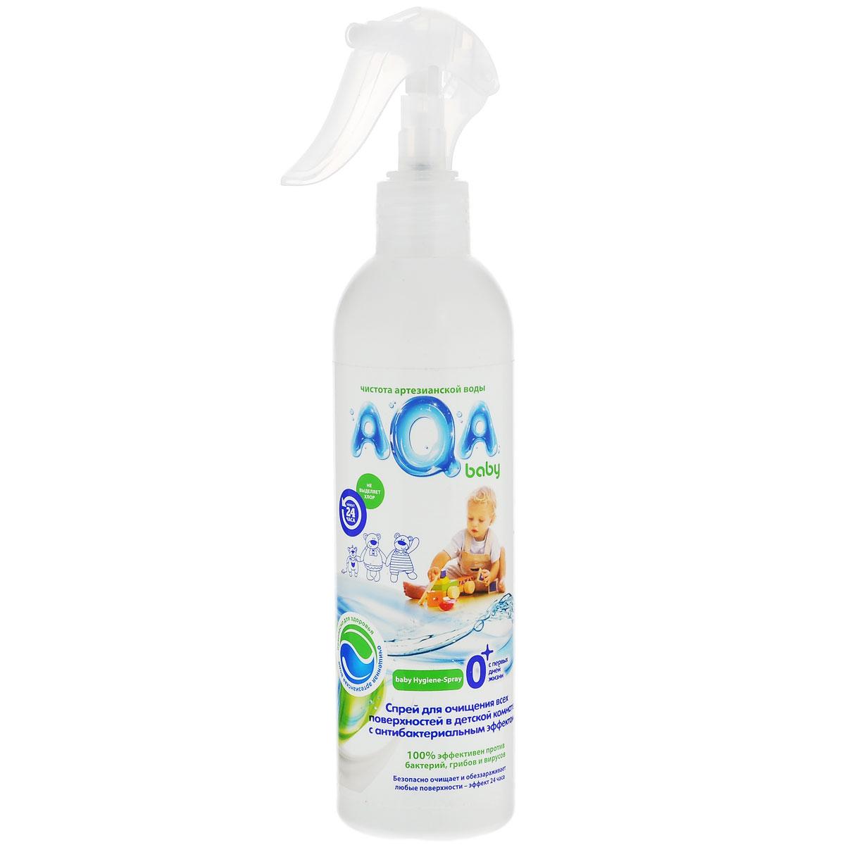 AQA Baby антибактериальный спрей для очищения всех поверхностей в детской комнате. Инновация в области безопасных средств для уборки в детской комнате: очищает и обеззараживает любые поверхности в детской комнате, предметы, в том числе детские игрушки, горшки и т.д., устраняет неприятные запахи, разрушая их, а не маскируя,без хлора, красителей и оптических осветлителей. Безопасно для малыша и мамы, домашних питомцев и окружающей среды: не остается на поверхностяхна основе возобновляемого природного сырьяне нужно смывать водойЭффективность подтверждена тестами в соответствии со стандартом США AATCC 100-1998. Эффект 24 часа: Бактерицидный: удаляет вредные бактерии (эффективен как против грам-положительных, так и грам-отрицательных бактерий) Антибактериальный: блокирует рост и размножение микроорганизмов (в том числе грибов) Используется AQA Baby антибактериальный спрей для протирания игрушек, стульчиков/столиков для кормления, горшков или туалетных сидений, а также любой детской мебели и прочих предметов. Не оказывает разрушающего влияния на обрабатываемые поверхности. Не сушит кожу рук.  Состав: >30% вода,  Как выбрать качественную бытовую химию, безопасную для природы и людей. Статья OZON Гид