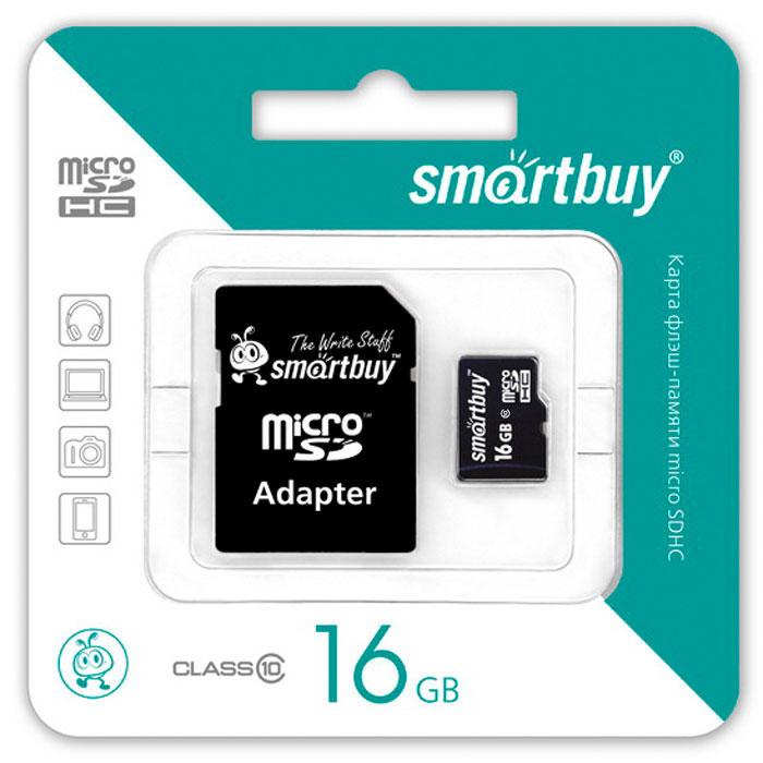 SmartBuy microSDHC Сlass 10 16GB карта памяти (с адаптером SD)SB16GBSDCL10-01Помимо высокой скорости работы и достаточно большого размера памяти карт памяти SmartBuy microSDHC Сlass 10 16GBотличается своей надежностью хранения информации. Несмотря на маленькие размеры карты памяти, она является идеальным вариантом хранения цифровой информации в устройствах с поддержкой MicroSDHC, miniSD, SD.