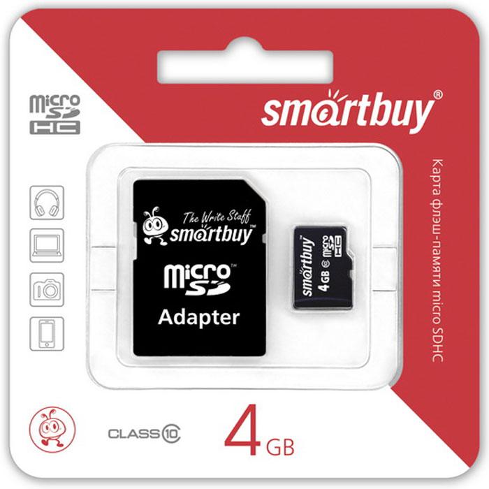 SmartBuy microSDHC Сlass 10 4GB карта памяти (с адаптером SD)SB4GBSDCL10-01Высоко скоростная 4-гигабайтная карта памяти SmartBuy microSDHC Сlass 10 4GB. Помимо высокой скорости работы и достаточно большого размера памяти карта памяти SmartBuy microSDHC Сlass 10 4GB отличается своей надежностью хранения информации. Несмотря на маленькие размеры карты памяти, она является идеальным вариантом хранения цифровой информации в устройствах с поддержкой MicroSDHC, miniSD, SD.