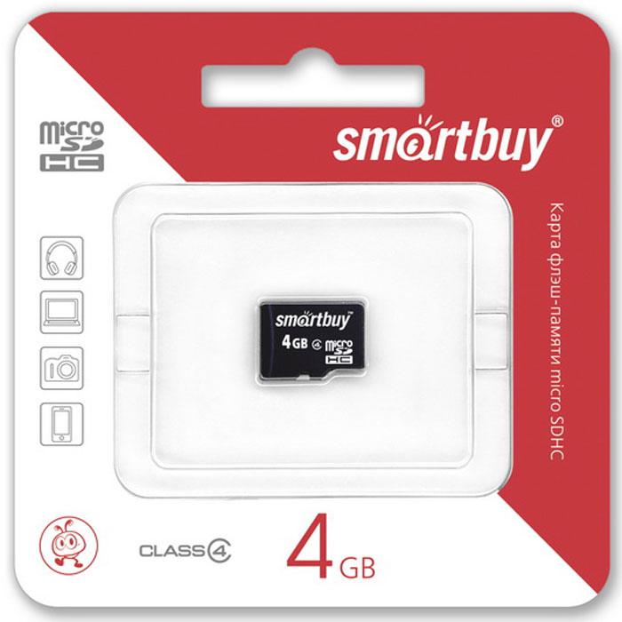 SmartBuy microSDHC Сlass 4 4GB карта памяти (без адаптера)SB4GBSDCL4-00Высоко скоростная 4-гигабайтная карта памяти SmartBuy microSDHC Сlass 4 4GB. Помимо высокой скорости работы и достаточно большого размера памяти карта памяти отличается своей надежностью хранения информации. Несмотря на маленькие размеры карты памяти, она является идеальным вариантом хранения цифровой информации в устройствах с поддержкой MicroSDHC, miniSD, SD.