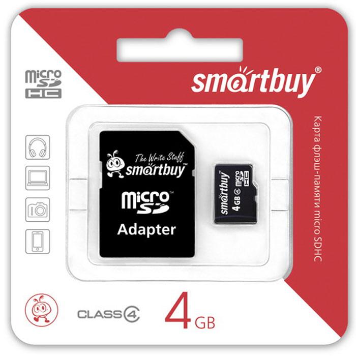 SmartBuy microSDHC Сlass 4 4GB карта памяти (с адаптером SD)SB4GBSDCL4-01Высоко скоростная 4-гигабайтная карта памяти SmartBuy microSDHC Сlass 4 4GB. Помимо высокой скорости работы и достаточно большого размера памяти карта памяти отличается своей надежностью хранения информации. Несмотря на маленькие размеры карты памяти, она является идеальным вариантом хранения цифровой информации в устройствах с поддержкой MicroSDHC, miniSD, SD.