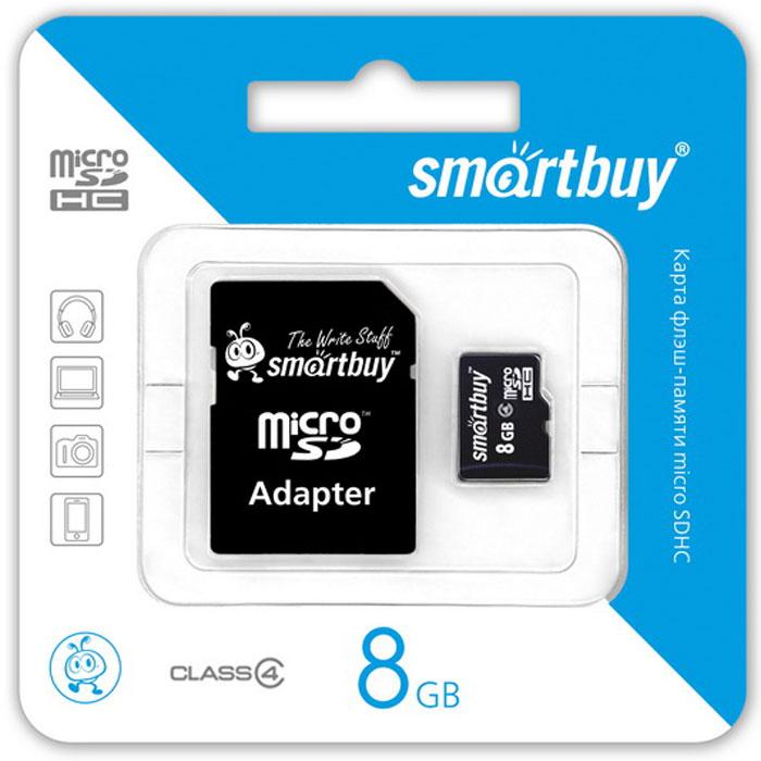 SmartBuy microSDHC Сlass 4 8GB карта памяти (с адаптером SD) карта памяти canon
