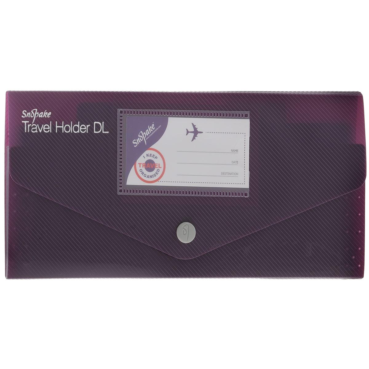 Папка-конверт на кнопке Snopake Fusion DL Travel Holder, цвет: фиолетовыйK15699_фиолетовыйПапка-конверт на кнопке Snopake Fusion DL Travel Holder - это удобный и функциональный офисный инструмент,предназначенный для хранения и транспортировки документов.Папка изготовлена из износостойкогополипропилена с рельефной текстурой, закрывается клапаном на кнопку.Содержит три отделения: дляпаспорта, билетов и страхового полиса. На внутренней стороне клапана находится карман для кредитнойкарточки, на внешней - для визитной.Папка-конверт - идеальный вариант для путешествий. Такая папканадежно сохранит ваши документы и сбережет их от повреждений, пыли и влаги. Она сочетает в себеклассический дизайн и неизменно высокое качество Snopake.