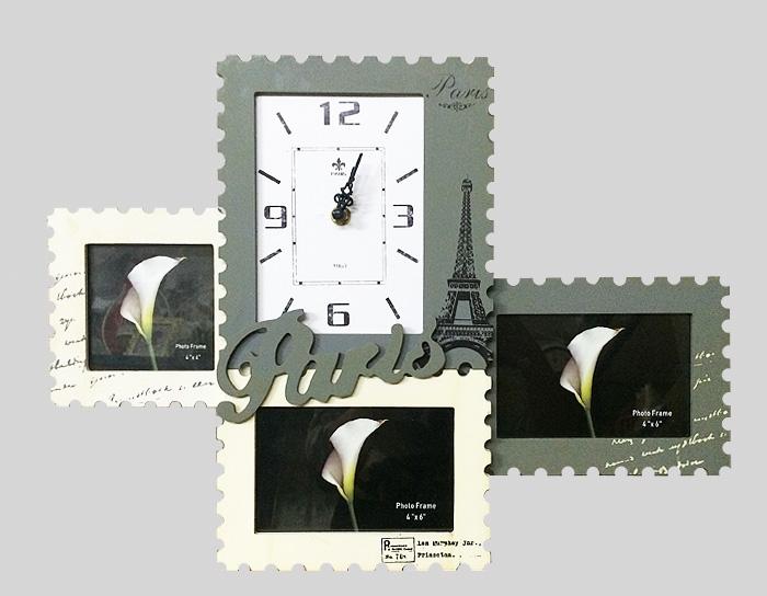 Настенные часы и фоторамки Париж. МДФ. 2000-е годы93484Настенные часы и фоторамки Париж. МДФ. 2000-е годы.Размер изделия 46 х 2 х 35 см. Сохранность отличная.