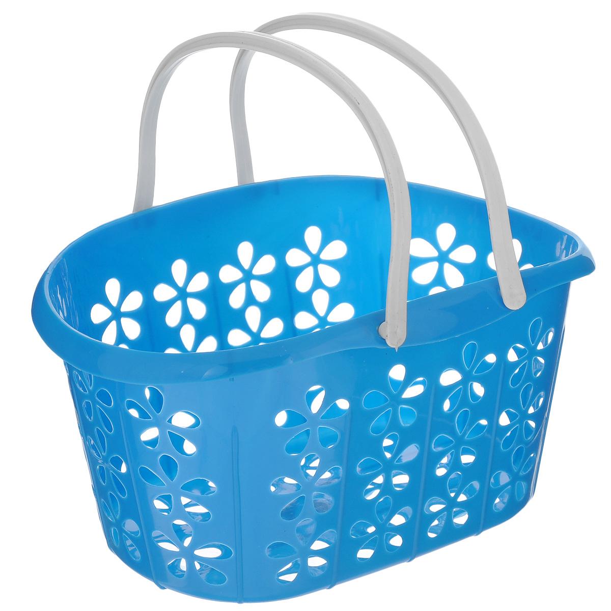 Корзинка Sima-land, с ручками, цвет: синий, 22,5 х 16,5 х 12 см139077 синийКорзинка Sima-land, изготовленная из высококачественного прочного пластика, предназначена для хранения мелочей в ванной, на кухне, даче или гараже. Изделие оснащено двумя удобными складными ручками.Это легкая корзина с сетчатым дном, жесткой кромкой и небольшими отверстиями позволяет хранить средние вещи в одном месте, исключая возможность их потери. Сетчатое дно исключает скопление пыли и влаги на дне корзины.