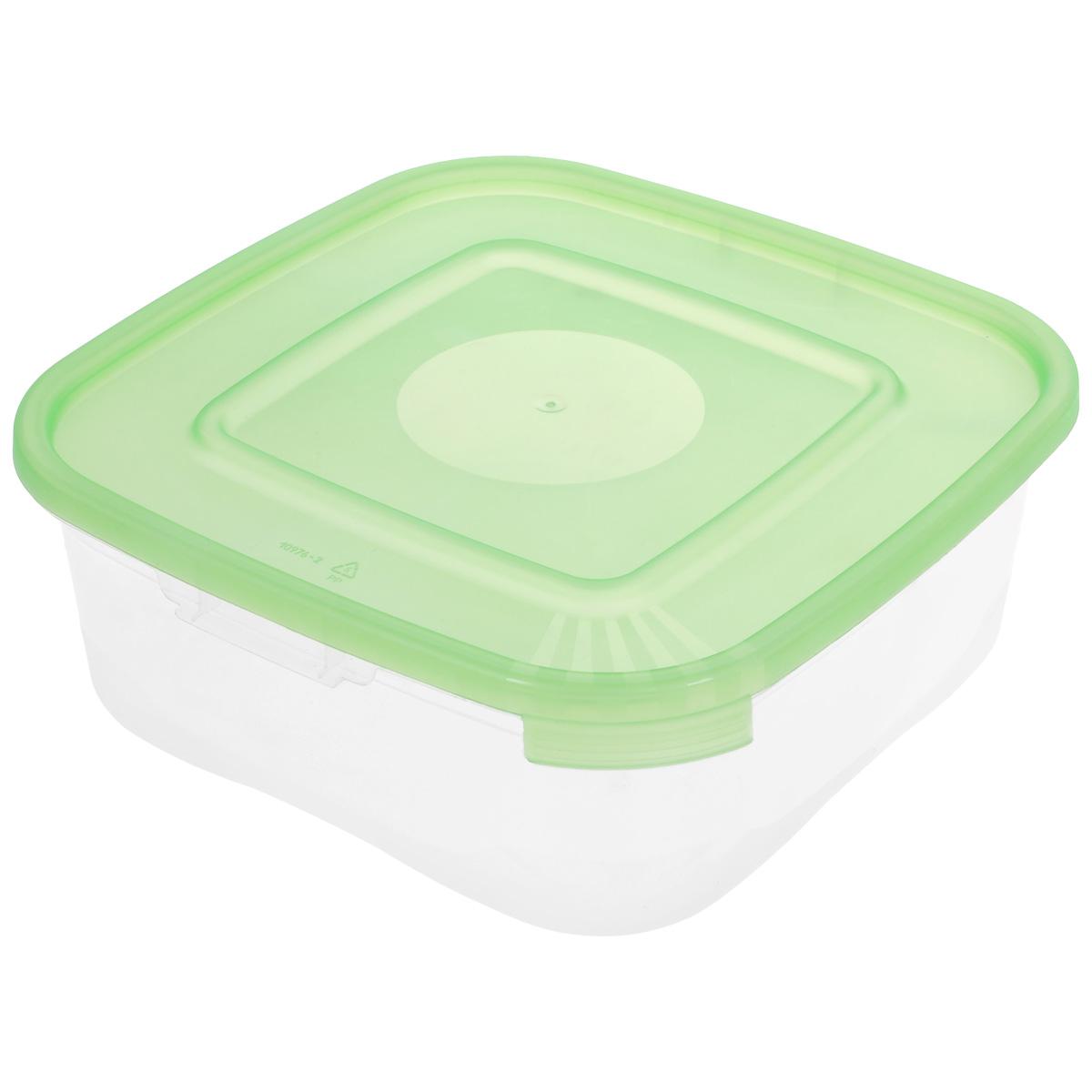 Контейнер Полимербыт Каскад, цвет: прозрачный, салатовый, 1,4 л контейнер полимербыт каскад цвет прозрачный сиреневый 1 л