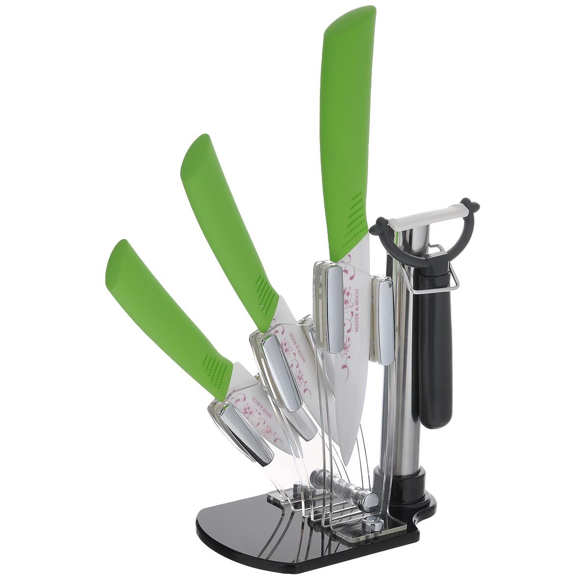Набор керамических ножей Mayer & Boch, цвет: салатовый, 5 предметов. 2186321863Набор керамических ножей Mayer & Boch состоит из 3 ножей, ножа-пиллера и подставки. Ножи выполненные из керамики, прекрасно подходят для ежедневной резки фруктов, овощей и мяса. Ножи имеют гладкую, легко очищаемую поверхность. Специальный дизайн рукоятки обеспечивает комфортный и легко контролируемый захват. Удобная акриловая подставка поможет хранить все ножи в одном месте.Оригинальный набор ножей великолепно украсит интерьер кухни и станет замечательным помощником.Можно мыть в посудомоечной машине.Длина лезвия большого ножа: 12,7 см. Общая длина большого ножа: 25 см. Длина лезвия среднего ножа: 10,2 см. Общая длина среднего ножа: 20 см. Длина лезвия маленького ножа: 7,6 см. Общая длина маленького ножа: 18 см. Длина лезвия ножа-пиллера: 4,5 см. Размер ножа-пиллера: 13 см х 8 см х 2 см. Размер подставки: 15 см х 10 см х 18 см.