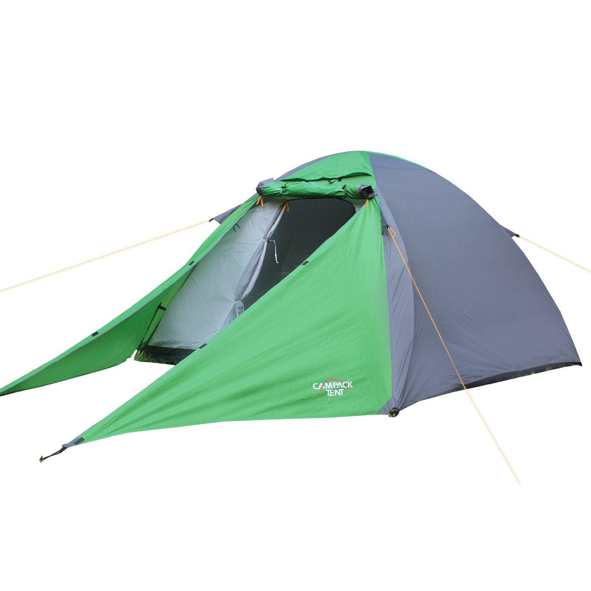Палатка Campack Tent Forest Explorer 2, цвет: серо-зеленый37639Campack Tent Forest Explorer 2 - универсальная купольная палатка для несложных походов и семейного отдыхана природе.Высокопрочное дно изготовлено из армированного полиэтилена, не пропускаетвлагу и устойчиво к истиранию.Каркас, изготовленный из фибергласа, обеспечивает надежность и устойчивость.Палатка оснащена увеличенными вентиляционными окнами, клапаном от косогодождя и двухслойным входом с цветными молниями.Дополнительный пол в тамбуре позволяет обеспечить больший комфорт приэксплуатации.Внутри палатки имеется подвеска для фонаря и карманы для хранения мелочей.Проклеенные швы гарантируют герметичность и надежность в любой ситуации.Материал тента: 190T P. Taffeta PU;Материал дна: Tarpauling;Материал дуг: фиберглас, 8,5 мм.