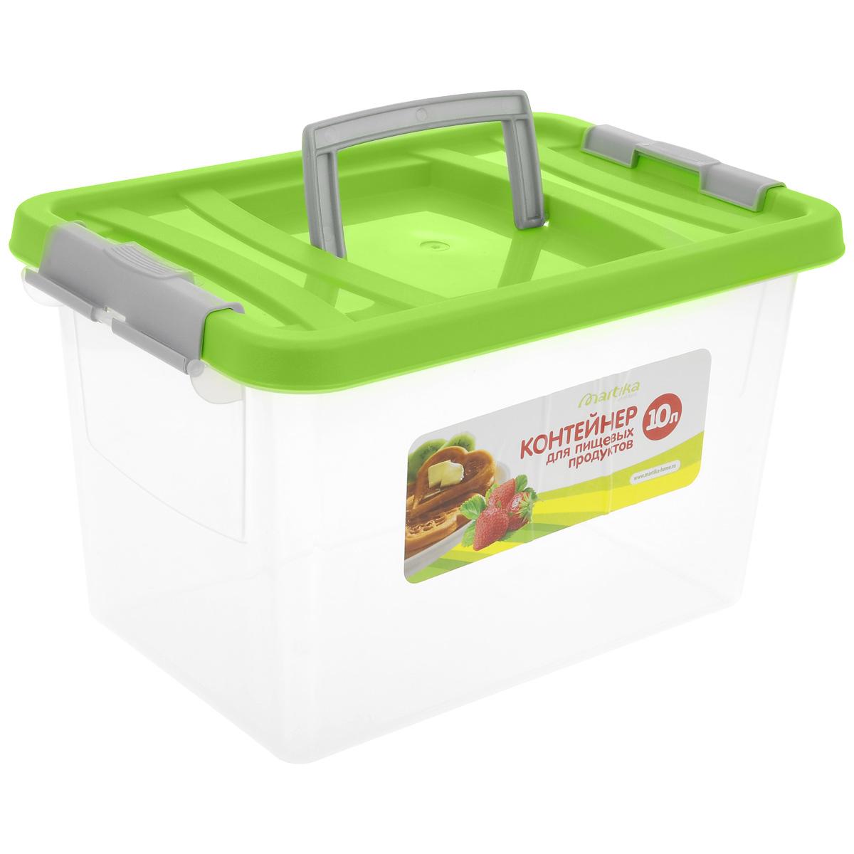 """Контейнер """"Martika"""" прямоугольной формы предназначен специально для хранения пищевых  продуктов. Устойчив к воздействию масел и жиров, легко моется (можно мыть в посудомоечной  машине). Крышка легко открывается и плотно закрывается. Имеются удобные ручки.  Прозрачные стенки позволяют видеть содержимое. Контейнер имеет возможность хранения  продуктов глубокой заморозки, обладает высокой прочностью. Диапазон температур для  эксплуатации - от -40°С до +100°С. Контейнер необыкновенно удобен: его можно  брать на пикник, за город, в поход.  Объем: 10 л."""