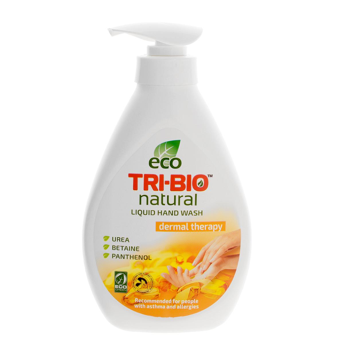 Натуральное жидкое эко-мыло Tri-Bio Дерматерапия, 240 мл0100Tri-Bio Дерматерапия - это уникальное жидкое мыло, основанное на натуральных растительных и минеральных компонентах, с фармацевтической урея, бетаином, пантенолом и лактатом, активно исцеляет и регенерирует сухую и раздраженную кожу. Подходит для нежной кожи детей. Рекомендовано для людей с сухой, чувствительной кожей, склонных к аллергиям и астме.Гипоаллергенное, не содержит ароматов, красителей и парабенов, нейтральный рн, биоразлагаемое. Восстанавливает естественный баланс кожи и влажность. Помогает сохранить кожу мягкой, гладкой, шелковистой и здоровой. Присвоены ECO сертификаты.