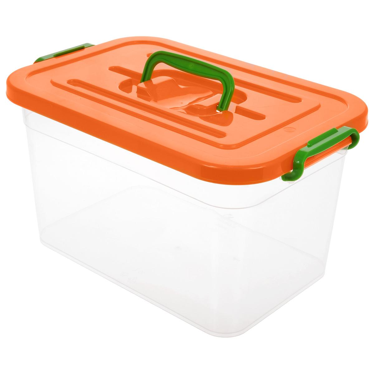 Контейнер для хранения Полимербыт, цвет: прозрачный, оранжевый, 10 лC810Контейнер для хранения Полимербыт выполнен из высококачественного полипропилена. Изделие снабжено удобной ручкой и двумя фиксаторами по бокам, придающими дополнительную надежность закрывания крышки. Вместительный контейнер позволит сохранить различные нужные вещи в порядке, а герметичная крышка предотвратит случайное открывание, а также защитит содержимое от пыли и грязи.