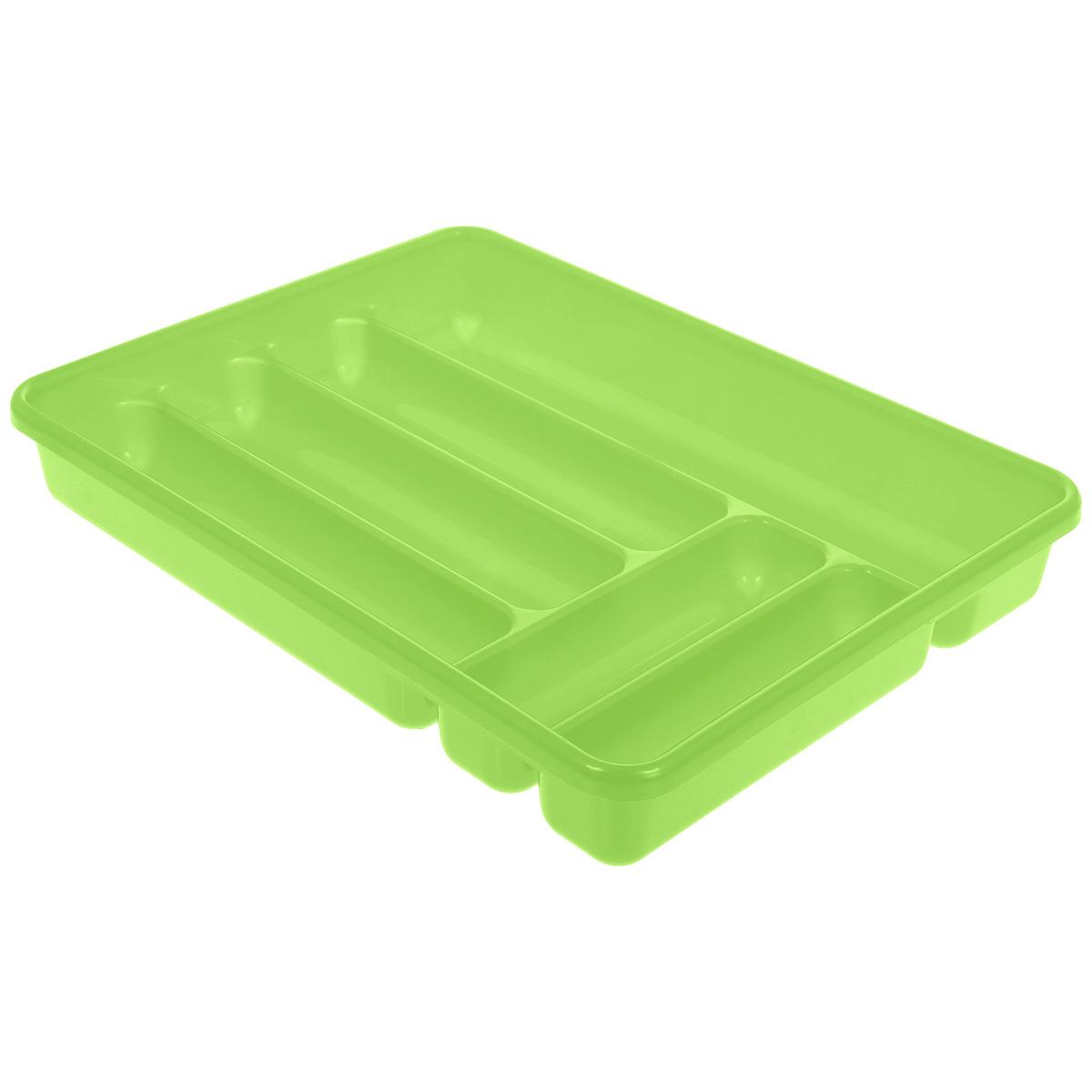 """Лоток для столовых приборов """"Cosmoplast"""" изготовлен из высококачественного пищевого пластика. Он предназначен для выдвигающихся ящиков на кухне. Лоток имеет шесть отделений: три отделения для вилок, ложек, ножей, два малых отделения для чайных ложек и десертных вилок, одно большое отделение для остальных приборов.Размер большого отделения: 38,5 см х 8 см.Размер средних отделений: 27 см х 6,5 см.Размер маленьких отделений: 20 см х 5 см."""