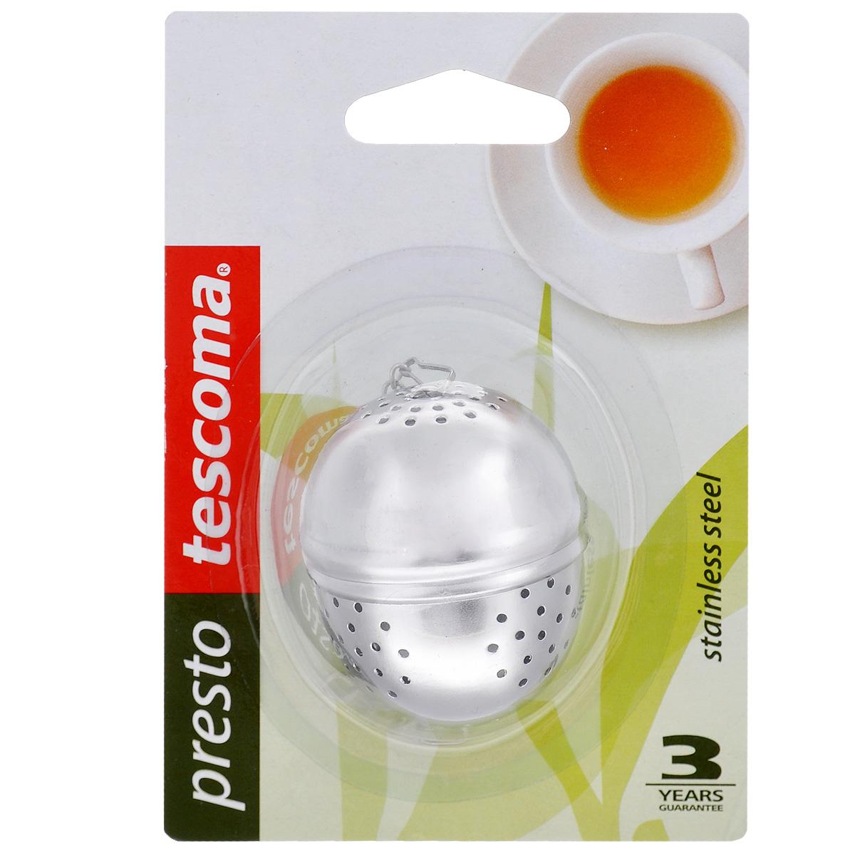 Заварник для чая Tescoma Presto, яйцо420670Заварник для чая Tescoma Presto - это практичный и симпатичный аксессуар для каждой кухни, который используется для приготовления чая, кофе, овощей и кореньев. Выполнен в форме яйца. Заварник изготовлен из благородной нержавеющей стали. Диаметр заварника: 4 см.Высота заварника: 5 см.
