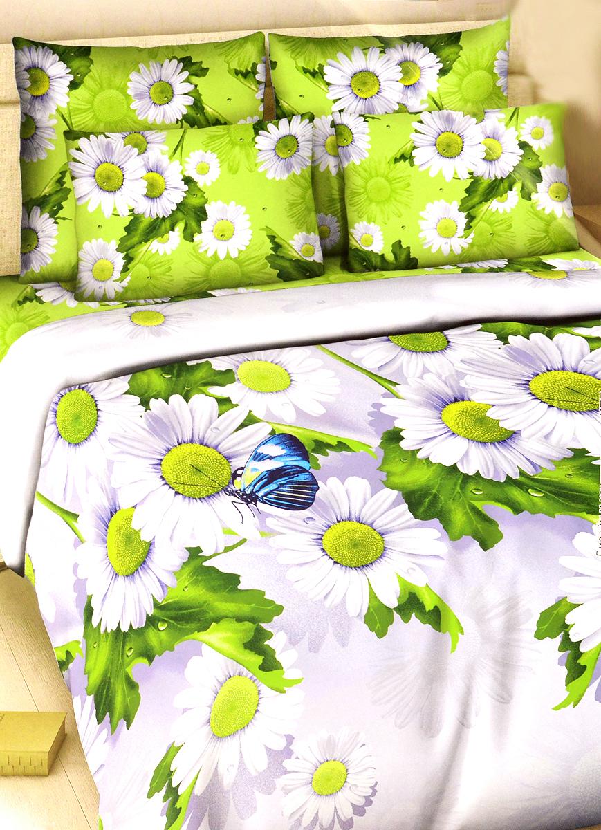 """Комплект постельного белья Василиса """"Летний день"""" состоит из двух пододеяльников, простыни и двух наволочек. Дизайн - крупные сочные ромашки. Белье изготовлено из поплина (хлопка) - гипоаллергенного, экологичного, высококачественного, крупнозакрученного волокна, благодаря чему эта ткань мягкая, нежная на ощупь и очень прочная, не образует катышков на поверхности. При соблюдении рекомендаций по уходу, это белье выдерживает много стирок (более 70), не линяет и не теряет свою первоначальную прочность. Уникальная ткань обеспечивает легкую глажку."""