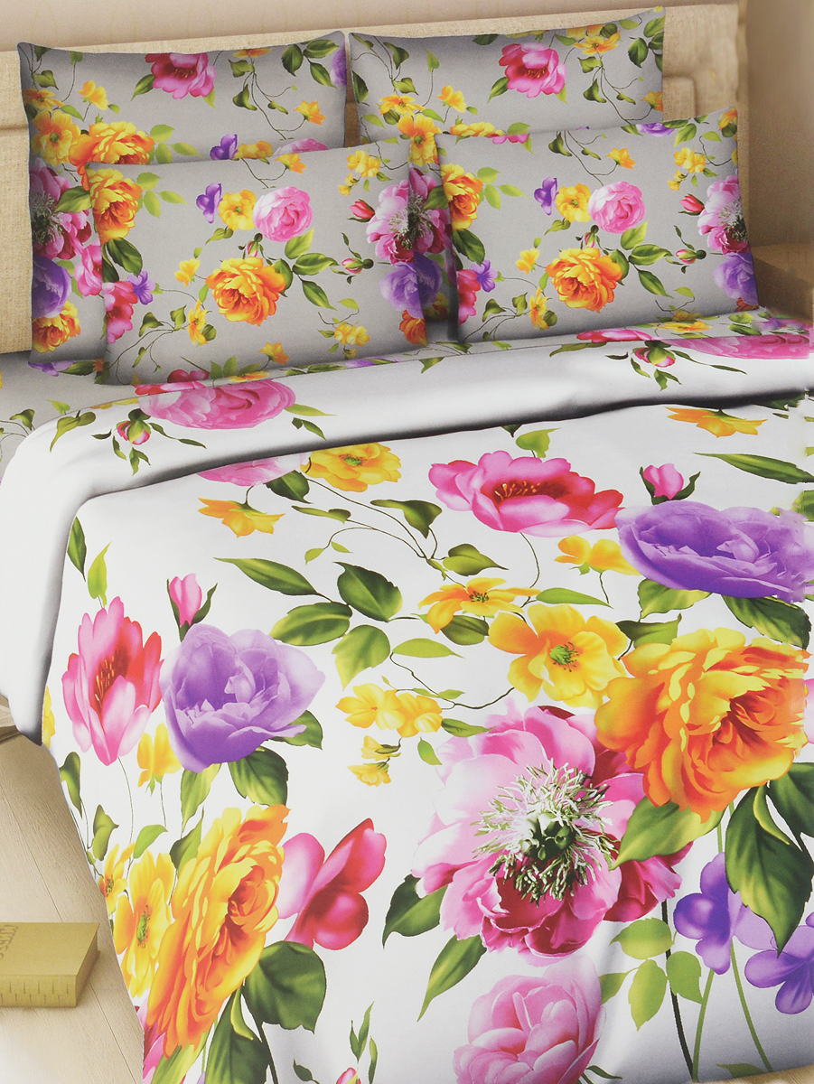Комплект белья Василиса Акварель, 1,5-спальный, наволочки 70х70152_1/1,5Комплект постельного белья Василиса Акварель состоит из пододеяльника, простыни и двух наволочек. Дизайн - крупные сочные цветы. Белье изготовлено из поплина (хлопка) - гипоаллергенного, экологичного, высококачественного, крупнозакрученного волокна, благодаря чему эта ткань мягкая, нежная на ощупь и очень прочная, не образует катышков на поверхности. При соблюдении рекомендаций по уходу, это белье выдерживает много стирок (более 70), не линяет и не теряет свою первоначальную прочность. Уникальная ткань обеспечивает легкую глажку.