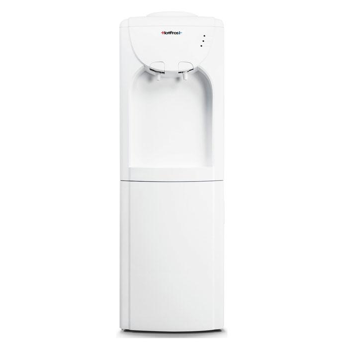 HotFrost V220CR кулер для воды4630004841291HotFrost V220CR - бюджетная модель без функции нагрева и охлаждения. Данная модель может выступать раздатчиком бутилированной воды. Нижняя часть корпуса традиционно отведена под шкафчик объемом 14 литров, скрытый за белой дверцей. Корпус диспенсера выполнен из прочного пластика. Загрузка бутыли выполняется стандартно, то есть, сверху. Используйте только чистую бутилированную воду в 19-ти литровых бутылях,рекомендуется использовать бутыли из поликарбоната.