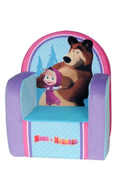 Яркое мягкое кресло, оформленное изображением Маши и Мишки, станет прекрасным украшением интерьера детской комнаты, а также любимой вещью вашего малыша.  Это оригинальное кресло не оставит равнодушным не только ребенка, но и взрослого и станет отличным подарком для вашего малыша.