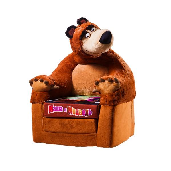 СмолТойс Кресло Маша и Медведь раскладывающееся1725/КЧЯркое мягкое кресло, выполненное в виде фигуры Медведя, станет прекрасным украшением интерьера детской комнаты, а также любимой вещью вашего малыша. Съемный чехол кресла выполнен из хлопка и полиэстера, застегивается на застежку-молнию. Наполнителем является поролон.Это оригинальное кресло не оставит равнодушным не только ребенка, но и взрослого и станет отличным подарком для вашего малыша. Кресло можно использовать как спальное место.