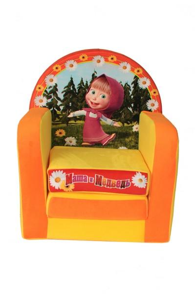 СмолТойс Мягкая игрушка Кресло раскладывающееся Маша и Медведь цвет желтый оранжевый1802/ЖЛ/53Детское раскладывающееся кресло Маша и медведь непременно порадует поклонников этого великолепного мультика! Кресло представляет собой не только игрушку, но и элемент мебели, который прекрасно впишется в практически любой интерьер! Кресло можно разложить и использовать как маленькую кроватку. На спинке и сиденье нарисованы забавные изображения героев полюбившегося всем мультика.Размер игрушки: 40 х 33 х 54 см.