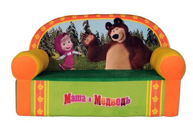 СмолТойс Мягкая игрушка Диван Маша и Медведь цвет оранжевый зеленый смолтойс мяч антистресс маша и медведь