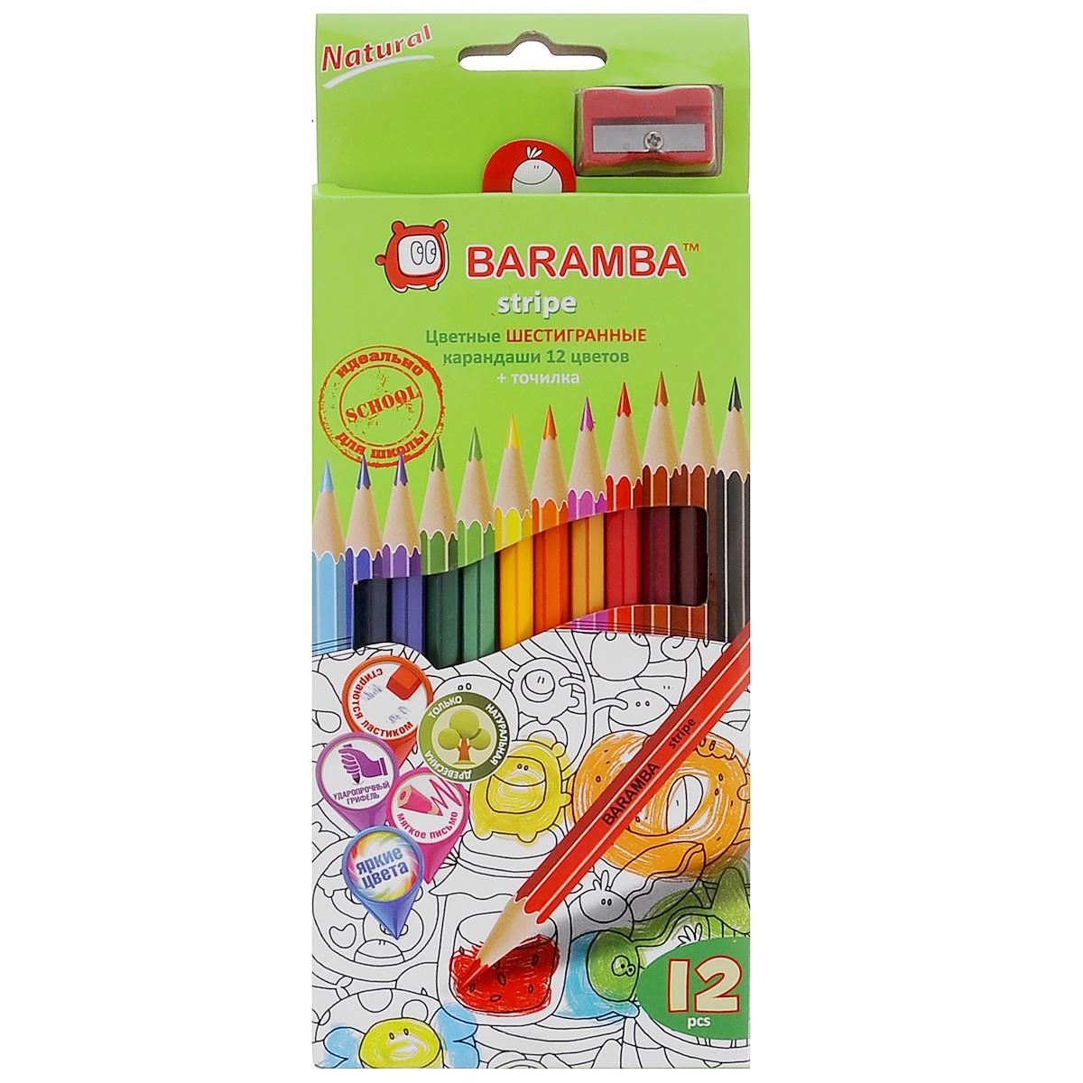 Набор цветных карандашей Baramba Stripe, с точилкой, 12 цветовB33112/NЦветные карандаши Baramba Stripe откроют юным художникам новые горизонты для творчества, а также помогут отлично развить мелкую моторику рук, цветовое восприятие, фантазию и воображение. Традиционный шестигранный корпус изготовлен из натуральной древесины, гладкость которого обеспечена многослойной покраской. Карандаши удобно держать в руках, а мягкий грифель не требует сильного нажима и легко стирается ластиком.Комплект включает 12 заточенных карандашей ярких насыщенных цветов и точилку.Не рекомендуется детям до 3-х лет.