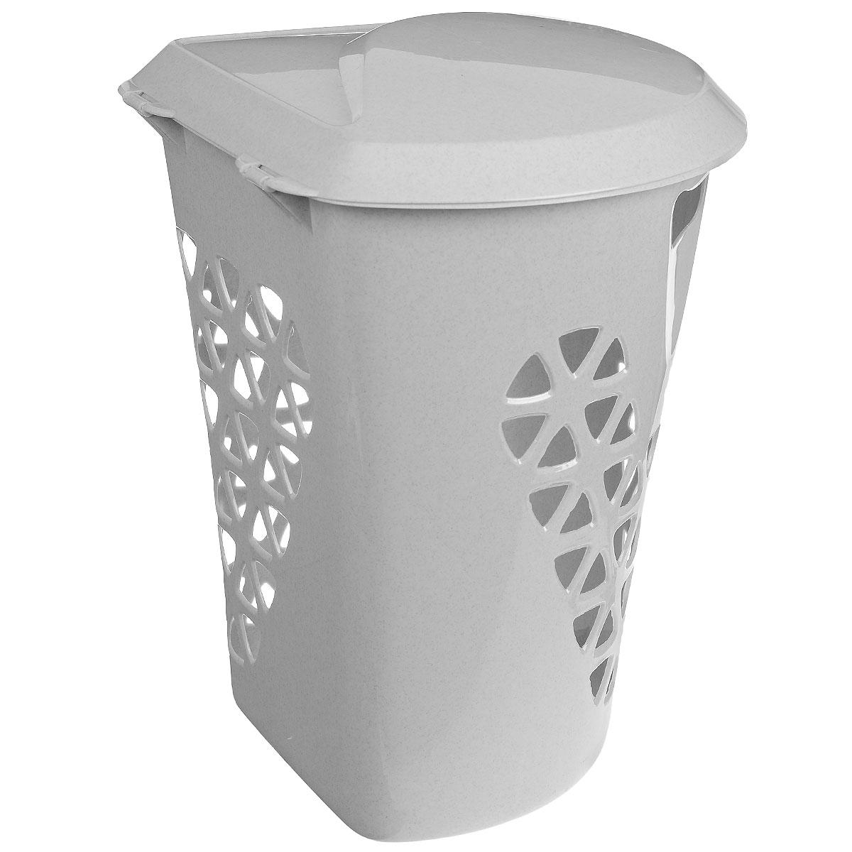 Корзина для белья М-пластика Венеция, угловая, цвет: белый, 50 лМ 2607Угловая корзина для белья М-пластика Венеция изготовлена из прочного пластика. Она отлично подойдет для хранения белья перед стиркой. Специальные отверстия на стенках создают идеальные условия для проветривания. Изделие оснащено крышкой. Такая корзина для белья прекрасно впишется в интерьер ванной комнаты.
