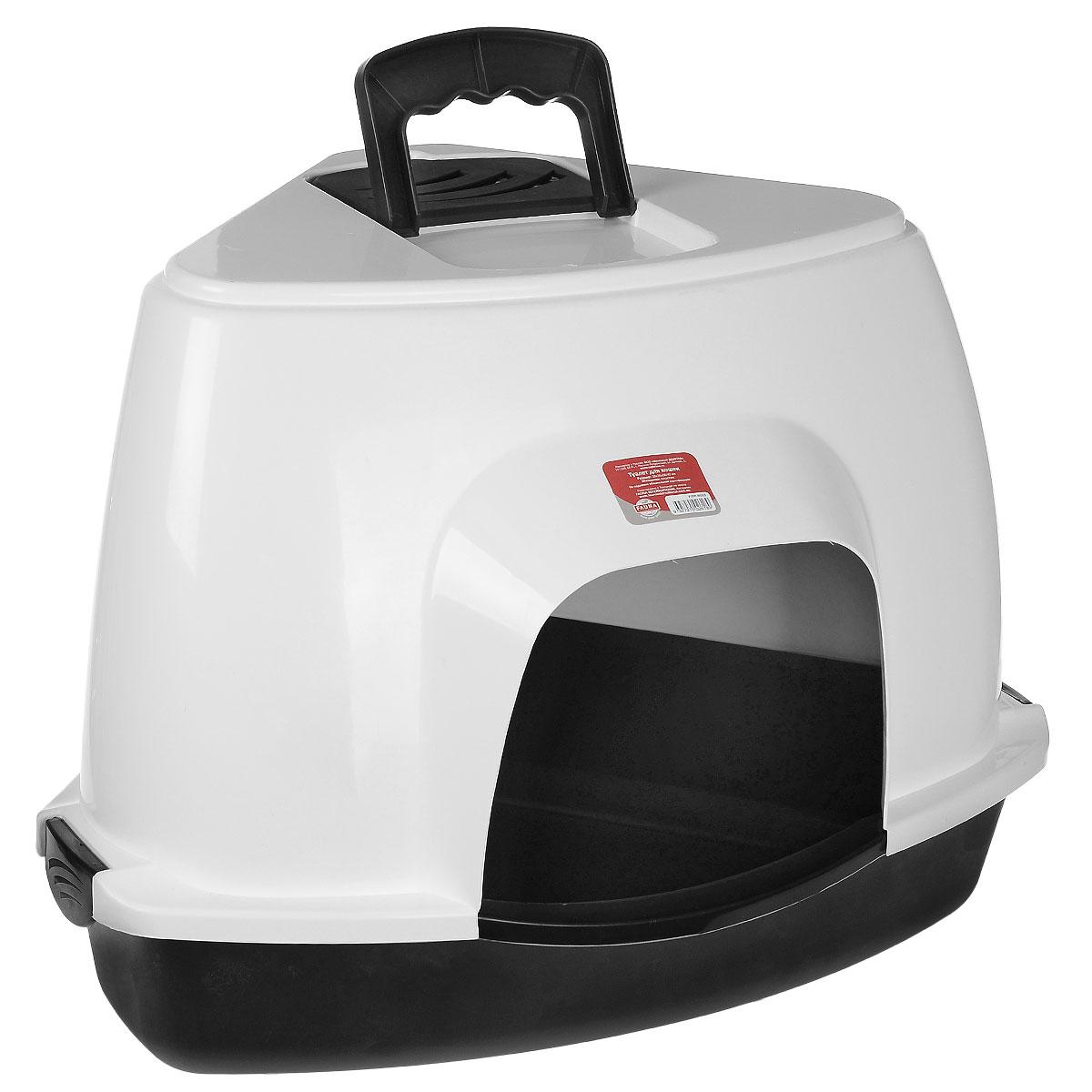 Туалет для кошек Fauna  Kitty Luxer , цвет: черный, белый, 38 см х 38 см х 56 см - Наполнители и туалетные принадлежности - Лотки и совки