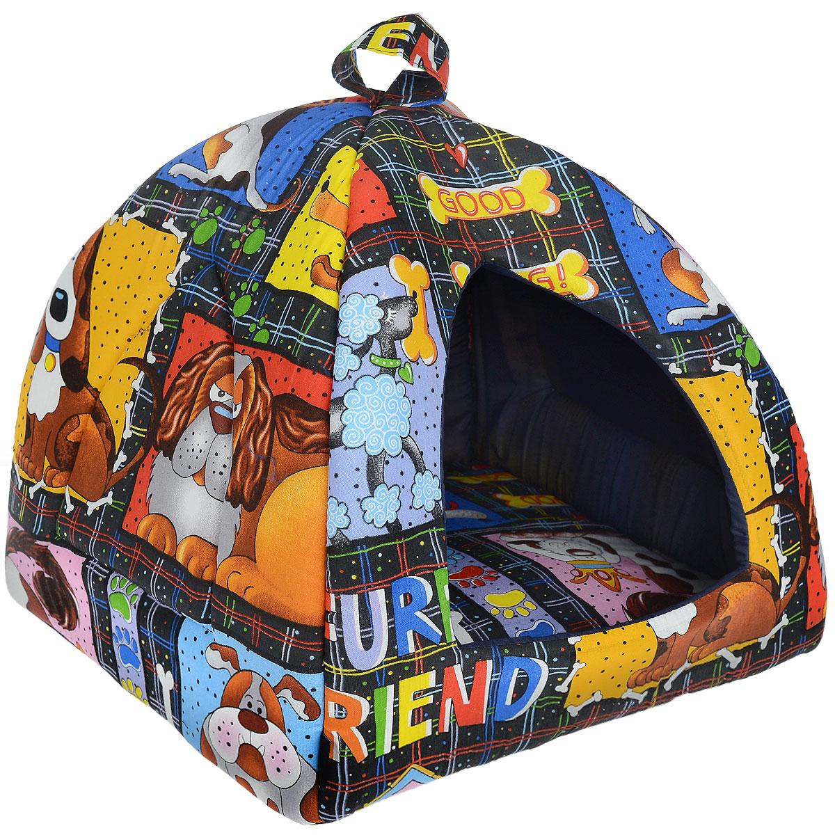 Домик для кошек и собак Гамма, цвет: синий, черный, 41 см х 41 см х 46 смДг-06000 синий, собакиДомик для кошек и собак Гамма обязательно понравится вашему питомцу. Домик предназначен для собак мелких пород и кошек. Изготовлен из хлопковой ткани с красивым принтом, внутри - мягкий наполнитель из мебельного поролона. Стежка надежно удерживает наполнитель внутри и не позволяет ему скатываться. Домик очень удобный и уютный, он оснащен мягкой съемной подстилкой из поролона.Ваш любимец сразу же захочет забраться внутрь, там он сможет отдохнуть и спрятаться. Компактные размеры позволят поместить домик, где угодно, а приятная цветовая гамма сделает его оригинальным дополнением к любому интерьеру. Размер подушки: 39 см х 39 см х 2 см. Внутренняя высота домика: 39 см. Толщина стенки: 2 см.