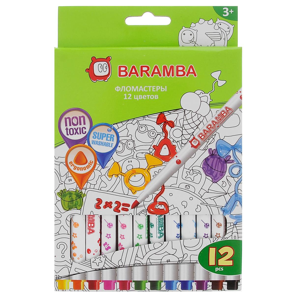 Набор фломастеров Baramba, 12 цветовB80712Фломастеры Baramba откроют юным художникам новые горизонты для творчества, а также помогут отлично развить мелкую моторику рук, цветовое восприятие, фантазию и воображение. Фломастеры на водной основе не токсичны и не содержат спирта. Фломастеры ярких насыщенных цветов легко отмываются от кожи рук теплой водой с мылом. Чернила без запаха не высыхают без колпачка более 5 недель! Комплект включает 12 фломастеров ярких насыщенных цветов.Не рекомендуется детям до 3-х лет.