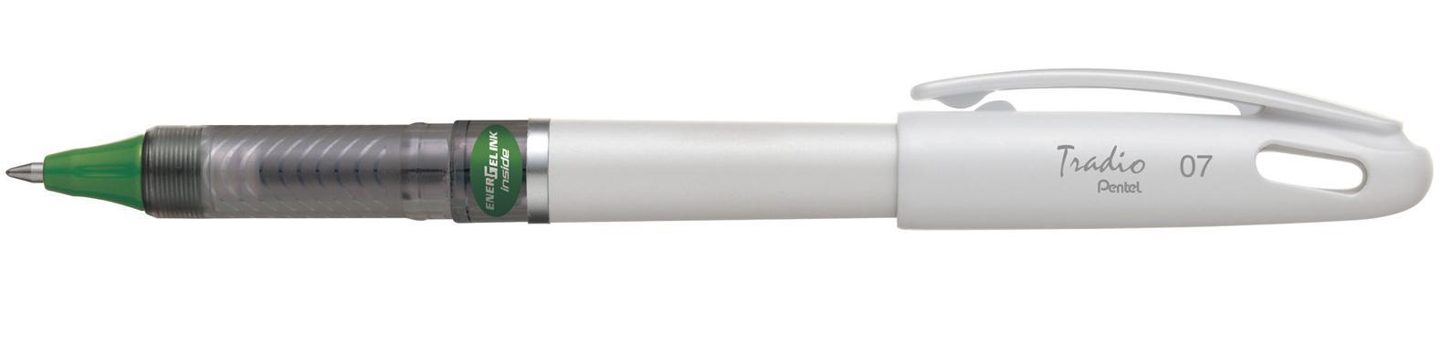 Гелевая ручка TRADIO ENERGEL зеленый стержень 0.7мм, белый корпус в блистереPBL117W-DX
