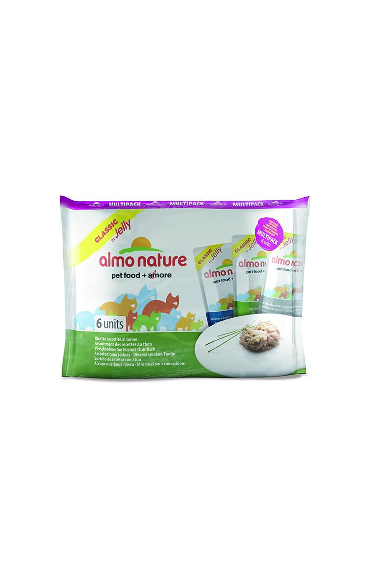 Консервы для кошек Almo Nature Classic. Multipack, с тунцом в желе, 6 шт х 55 г20337Консервы Almo Nature Classic. Multipack - восхитительно вкусный функциональный влажный корм для кошек, содержащий желатин, который является натуральным средством для вывода шерсти из организма животного, помогающий защитить пищеварительный тракт от раздражения, а также он придает корму восхитительно нежную структуру. Консервы приготовлены из самых свежих отборных ингредиентов уровня Human Grade (качество как для людей), являющихся натуральным естественным источником витаминов и микроэлементов. В наборе 3 вкуса по 2 пауча.Состав: рыбный бульон 52%, тунец 40%, камбала 5,5%, желатин, рис 1%. Пищевая ценность: белки 13%, клетчатка 1%, масла и жиры 0,3%, зола 1%, влажность 83%. Калорийность 480 ккал/кг. Состав: тунец 51%, рыбный бульон 47%, желатин, рис 0,5%. Пищевая ценность: белки 13%, клетчатка 1%, масла и жиры 0,5%, зола 1.5%, влажность 83%. Калорийность 497 ккал/кг. Состав: рыбный бульон 46,8%, тунец 46%, снеток (Encrasicholina heteroloba) 5%, желатин, рис 0,5%. Пищевая ценность: белки 14%, клетчатка 1%, масла и жиры 0,5%, зола 1%, влажность 83%. Калорийность 532 ккал/кг.Товар сертифицирован.