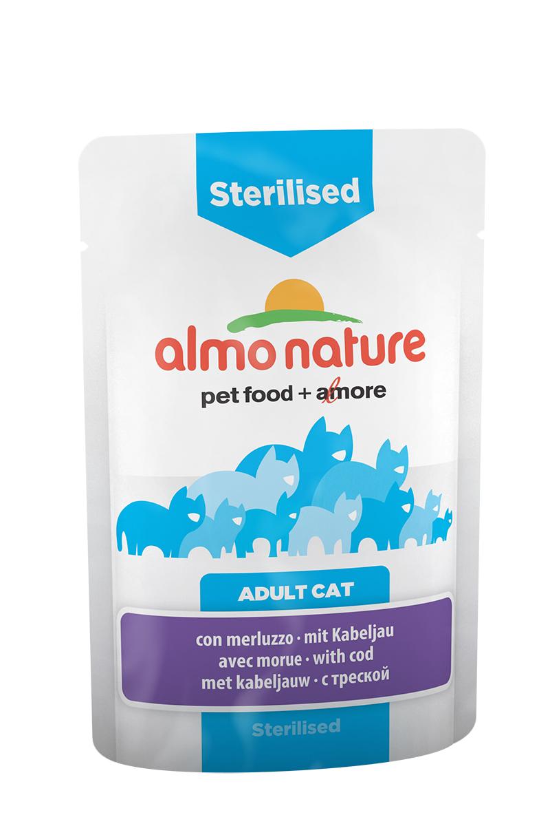 Консервы Almo Nature Functional Line для кастрированных котов и стерилизованных кошек, с треской, 70 г20338Консервы Almo Nature Functional line - специализированная линейка кормов, разработанная с учетом индивидуальных особенностей кошек.Sterilised - идеальный диетический корм для кастрированных котов и стерилизованных кошек. Состав: мясо и его производные, рыба и ее производные (треска 4%), производные растительного происхождения, экстракт растительного белка, минералы. Добавки: витамин D3 - 325 IU/кг, витамин E - 32 мг/кг, витамин B1 - 2,5 мг/кг, витамин C - 101 мг/кг, E2 (Иодин) - 0,2 мг/кг, E4 (Медь) - 0,5 мг/кг, E5 (марганец) - 1 мг/кг, E6 (Цинк) - 16 мг/кг, биотин - 0,015 мг/кг, таурин - 0,237 g/kg; технологические добавки: камедь кассии - 134 мг/кг. Пищевая ценность: белки - 9%, клетчатка - 0,8%, масла и жиры - 4%, зола - 3%, влажность - 82%. Калорийность: 768 ккал/кг.Товар сертифицирован.