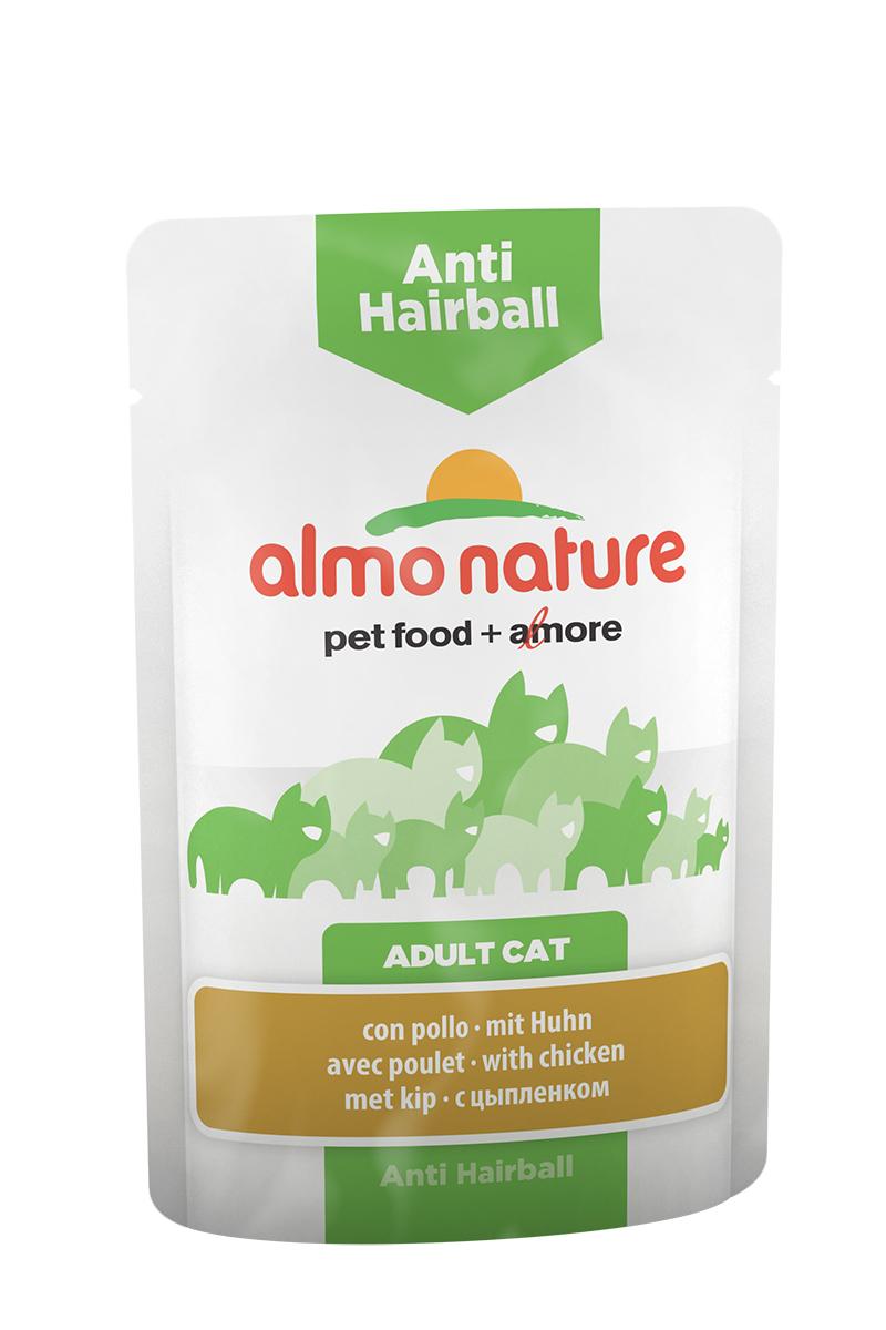 Консервы Almo Nature Anti Hairball, для кошек, с цыпленком, 70 г консервы для кошек almo nature classic с курицей и тыквой 140 г