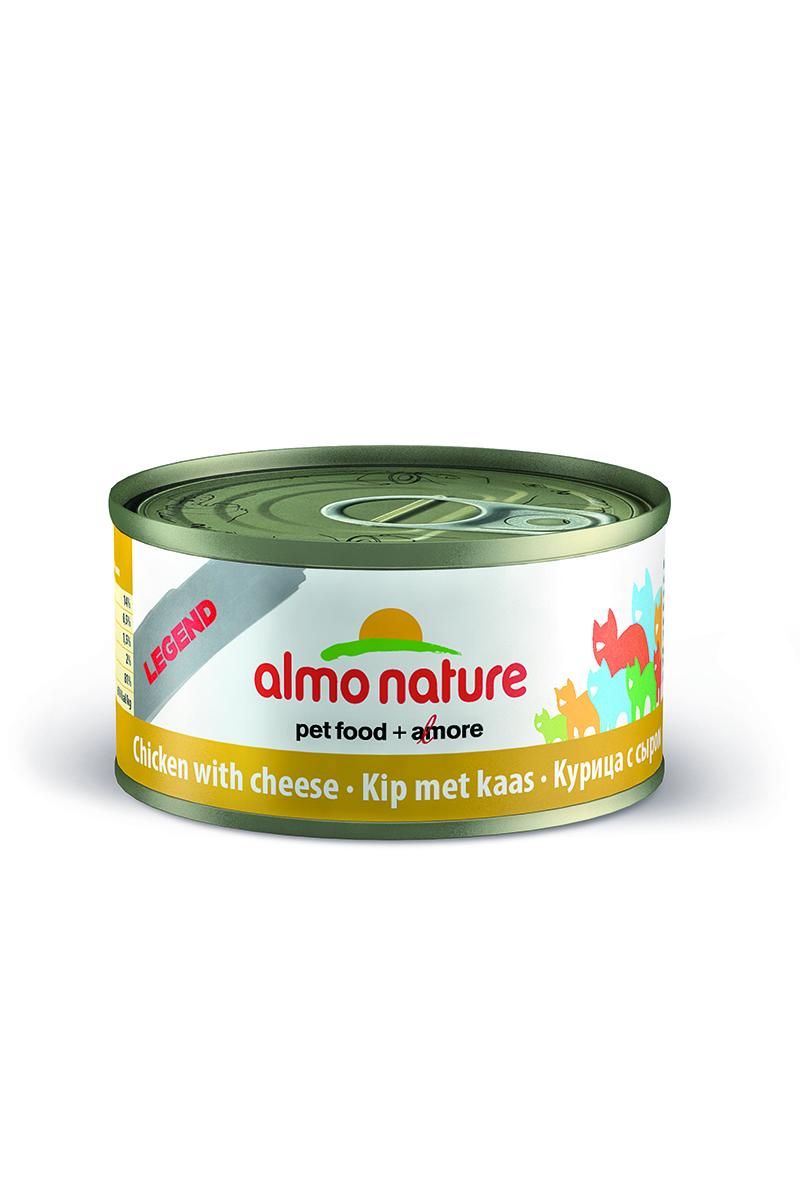 Консервы Almo Nature Legend для кошек, с курицей и сыром, 70 г22500Консервы Almo Nature - супер-премиум корм для кошек, в банках, сохраняющих свежесть каждого кусочка. Корм изготовлен только из свежих высококачественных натуральных ингредиентов, что обеспечивает здоровье вашей кошки. Не содержит ГМО, антибиотиков, химических добавок, консервантов и красителей.Состав: куриное филе - 70%, куриный бульон - 24%, сыр - 5%, рис - 1%.Гарантированный анализ: белки - 17%, клетчатка - 0,1%, жиры - 2%, зола - 2%, влажность - 75%.Товар сертифицирован.