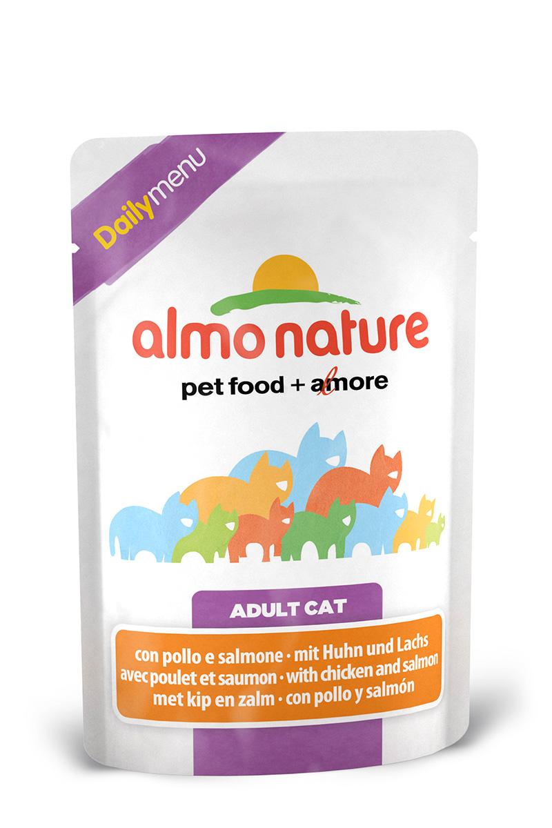 Консервы для кошек Almo Nature Daily Menu, с курицей и лососем, 70 г22524Консервы Almo Nature Daily Menu - это супер-премиум корм для кошек. Корм изготовлен только из свежих высококачественных натуральных ингредиентов, что обеспечивает здоровье вашей кошки. Не содержит химических, или каких-либо других искусственных ингредиентов.Состав: морская рыба > 6%, тунец > 4%, лосось > 4%, курица > 13%, кукурузный глютен, яйца, морковь - 1,6%, горох - 1,6%, рис - 1,4%.Гарантированный анализ: белки – 11%, клетчатка - 1%, жиры - 3%, зола - 3%, влажность – 80%.Калорийность: 710 ккал/кг.Товар сертифицирован.