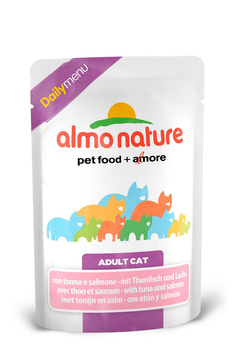 Консервы для взрослых кошек Almo Nature Daily, с тунцом и лососем, 70 г22526Консервы Almo Nature Daily - это корм, рекомендованный взрослым кошкам. Угощениеизготавливается из свежих и натуральных ингредиентов, которые были упакованы сырыми, затем стерилизованы, чтобы сохранить питательные вещества и вкус. Ваш питомец будет в полном восторге.Не содержит сои, консервантов, ароматизаторов, искусственных красителей, усилителей вкуса.Состав: тунец >9%, морская рыба >7%, лосось >4%, курица >7%, кукурузный глютен, яйца, морковь -1,6%, горох - 1,6%, рис - 1,4%.Гарантированный анализ: белки – 11%, клетчатка - 1%, жиры - 3%, зола - 3%, влажность – 80%.Товар сертифицирован.