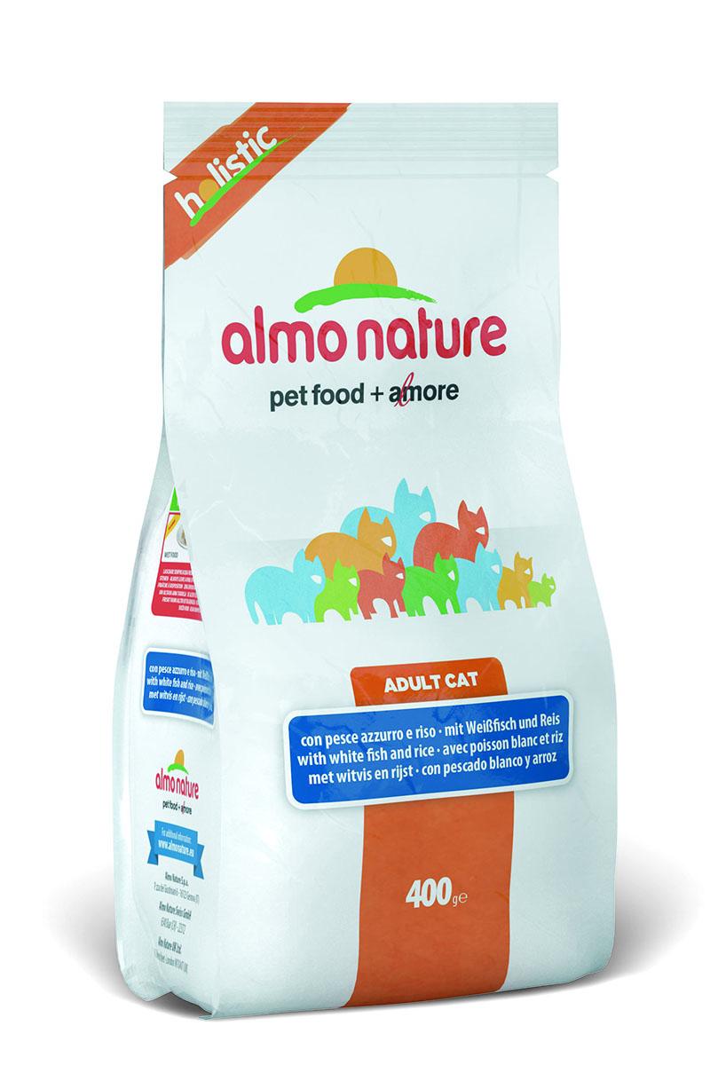 Корм сухой Almo Nature Holistic для взрослых кошек, с белой рыбой и коричневым рисом, 400 г22591Корм Almo Nature для взрослых кошек - полностью сбалансированный корм супер-премиум класса. Особенности: Корм содержит большой процент свежей рыбы, поэтому обеспечивает необходимым количеством питательных веществ и протеина. Состав корма идеально сбалансирован и отвечает всем потребностям животного. Супер-линейка Almo Nature создана для самых привередливых и склонных к аллергии кошек. Прекрасный вкус обеспечивается за счет свежих натуральных ингредиентов. Корм сохраняет свои свойства за счет натуральных антиоксидантов. Не содержит искусственных добавок, красителей, ароматизаторов, консервантов. Для обеспечения естественных потребностей в углеводах в состав корма входит высокоусвояемая смесь зерновых (рис, ячмень, овес). Мясные ингредиенты, входящие в состав, соответствуют стандарту Human Grade (качество как для людей). Оптимальное количество калорий способствует сохранению нормального веса. Состав: мясо белой рыбы и ее производные 55% (из которых 25% свежего мяса), злаки (рис 14%, ячмень), растительный протеиносодержащий экстракт, жиры, минералы, маннанолигосахариды, фруктоолигосахариды. Пищевые добавки: Таурин 1170 мг/кг, DL - метионин 1120 мг/кг, Витамин А 3760 МЕ/кг, Витамин D3 2275 МЕ/кг, Витамин Е 210 мг/кг. Микроэлементы: йодат кальция безводный 1,64 мг/кг, селенит натрия 0,53 мг/кг, сульфат железа моногидрат 321мг/кг, сульфат меди пентогидрат 42 мг/кг, аминокислотный-меди хелат гидрат 53 мг/кг, аминокислотный-цинка хелат гидрат 356 мг/кг, сульфат марганца моногидрат 117 мг/кг, сульфат цинка моногидрат 296 мг/кг, аминокислотный железа хелат гидрат 21 мг/кг. Гарантированный анализ: белки 31%, клетчатка 1,5%, жиры 15%, зола 8,5%, влажность 7%.Энергетическая ценность: 3655 ккал/кг.Товар сертифицирован.