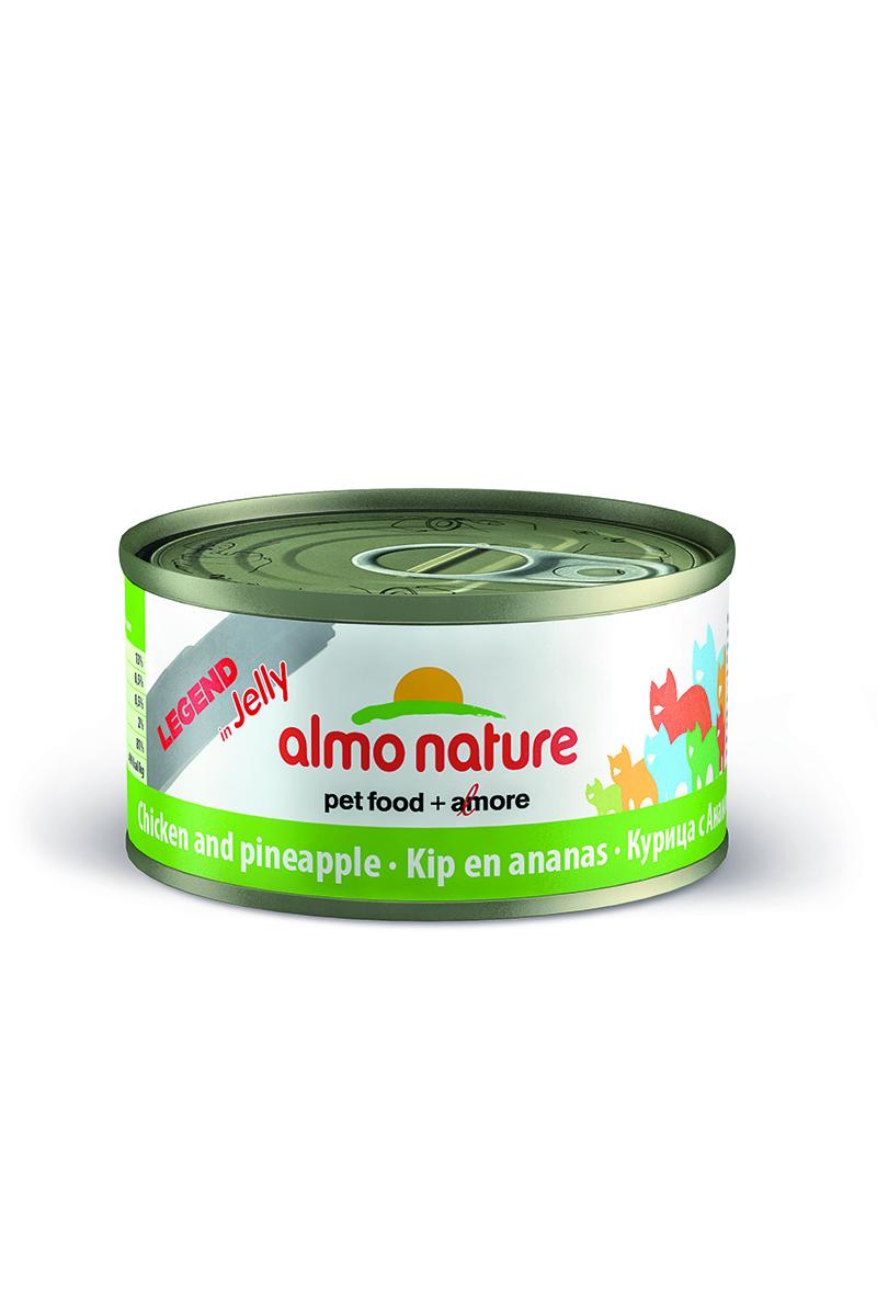 Консервы для Кошек с Курицей и Ананасом (Legend Adult Cat Chicken&Pineapple), 70 г.24509Состав: курица 70%, куриный бульон 22,8%, ананас 5%, рис 1%, желирующие агенты 1,2% (содержит: хлорид калия). Добавки: камедь кассии 3850 мг/кг. Пищевая ценность: белки 14%, клетчатка 0.3%, масла и жиры 2%, зола 1%, влажность 80%. Каллорийность 660 ккал/кг.
