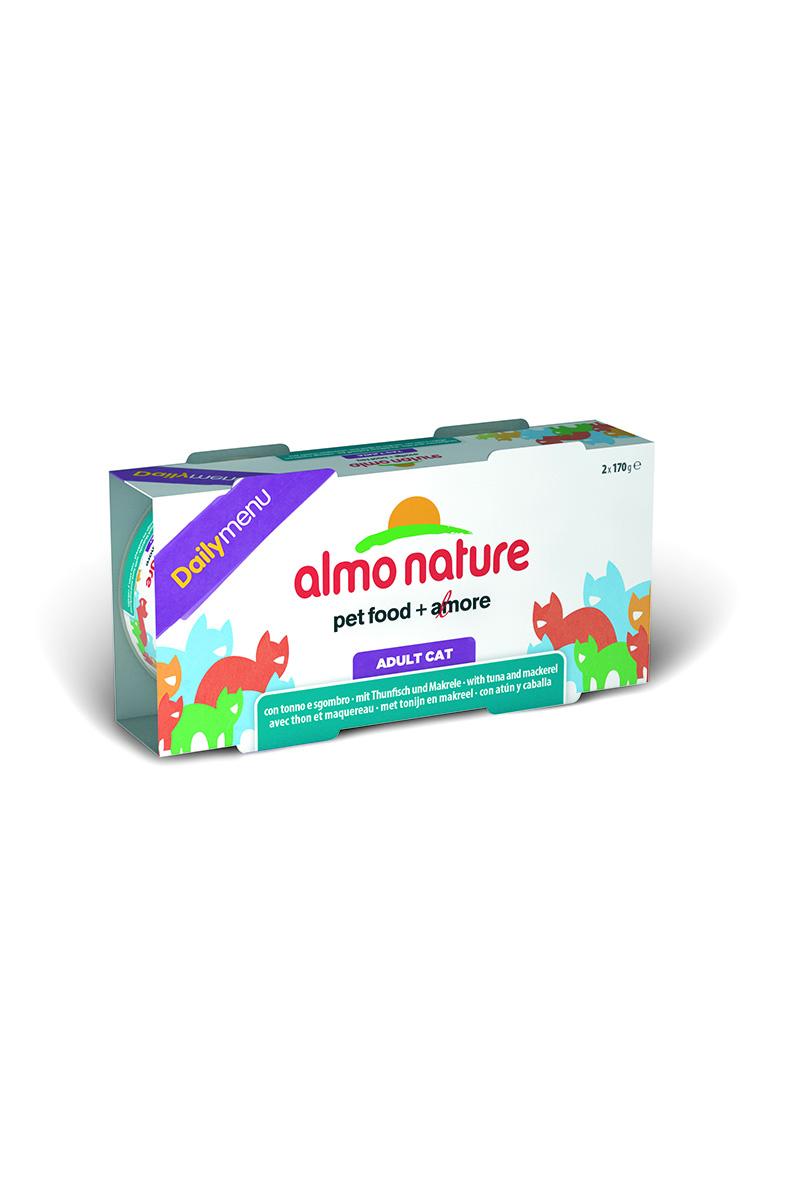 Консервы для кошек Almo Nature Daily menu, с тунцом и макрелью, 170 г х 2 шт корм для птиц vitakraft menu vital для волнистых попугаев основной 1кг