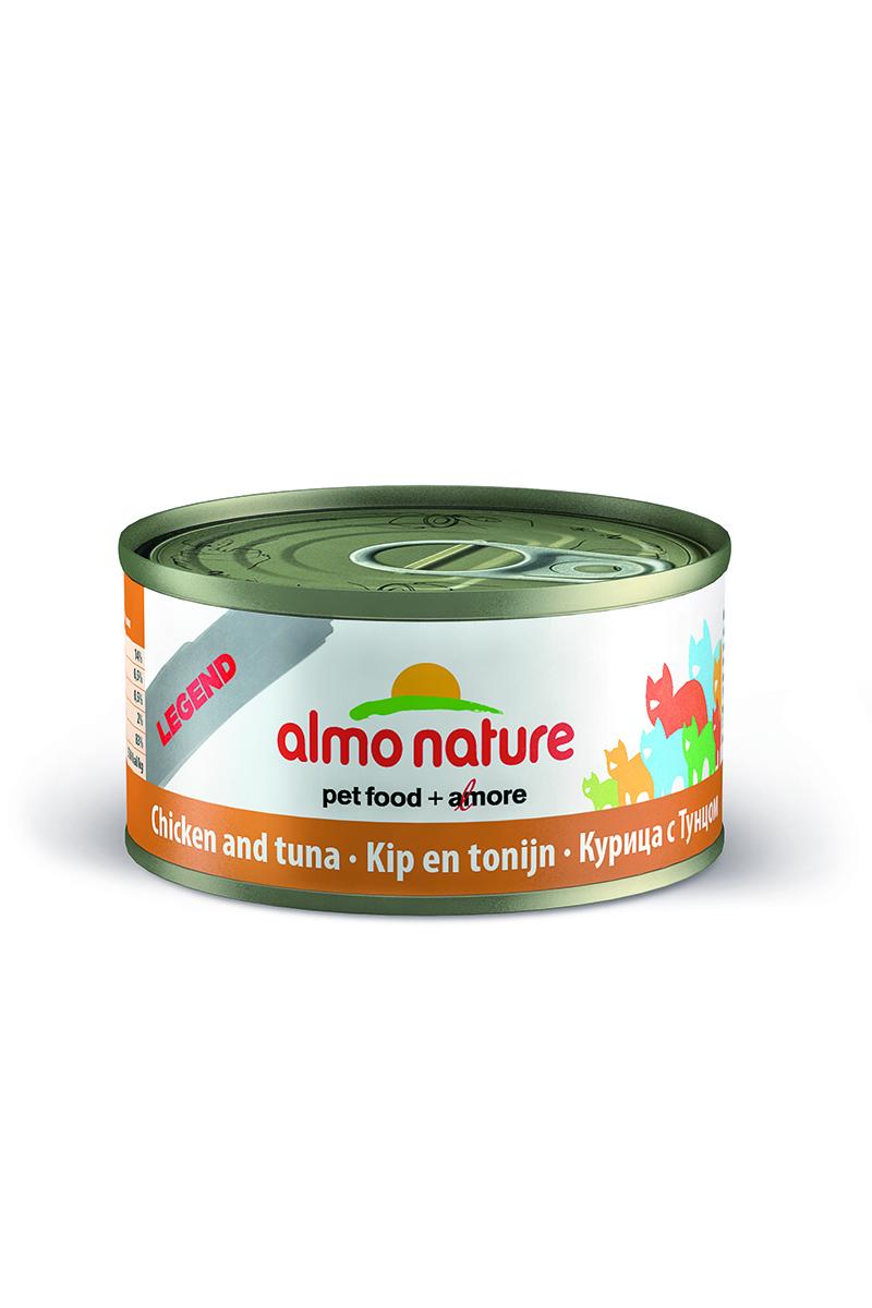 Консервы Almo Nature Legend для кошек, с курицей и тунцом, 70 г26493Консервы Almo Nature - супер-премиум корм для кошек, в банках, сохраняющих свежесть каждого кусочка. Корм изготовлен только из свежих высококачественных натуральных ингредиентов, что обеспечивает здоровьевашей кошки. Не содержит ГМО, антибиотиков, химических добавок, консервантов и красителей.Состав: мясо курицы 48%, тунец 27%, бульон 24%, рис 1%.Гарантированный анализ: белки - 16,8%, клетчатка - 1%, жиры - 0,2%, зола - 3%, влажность - 79%.Товар сертифицирован.