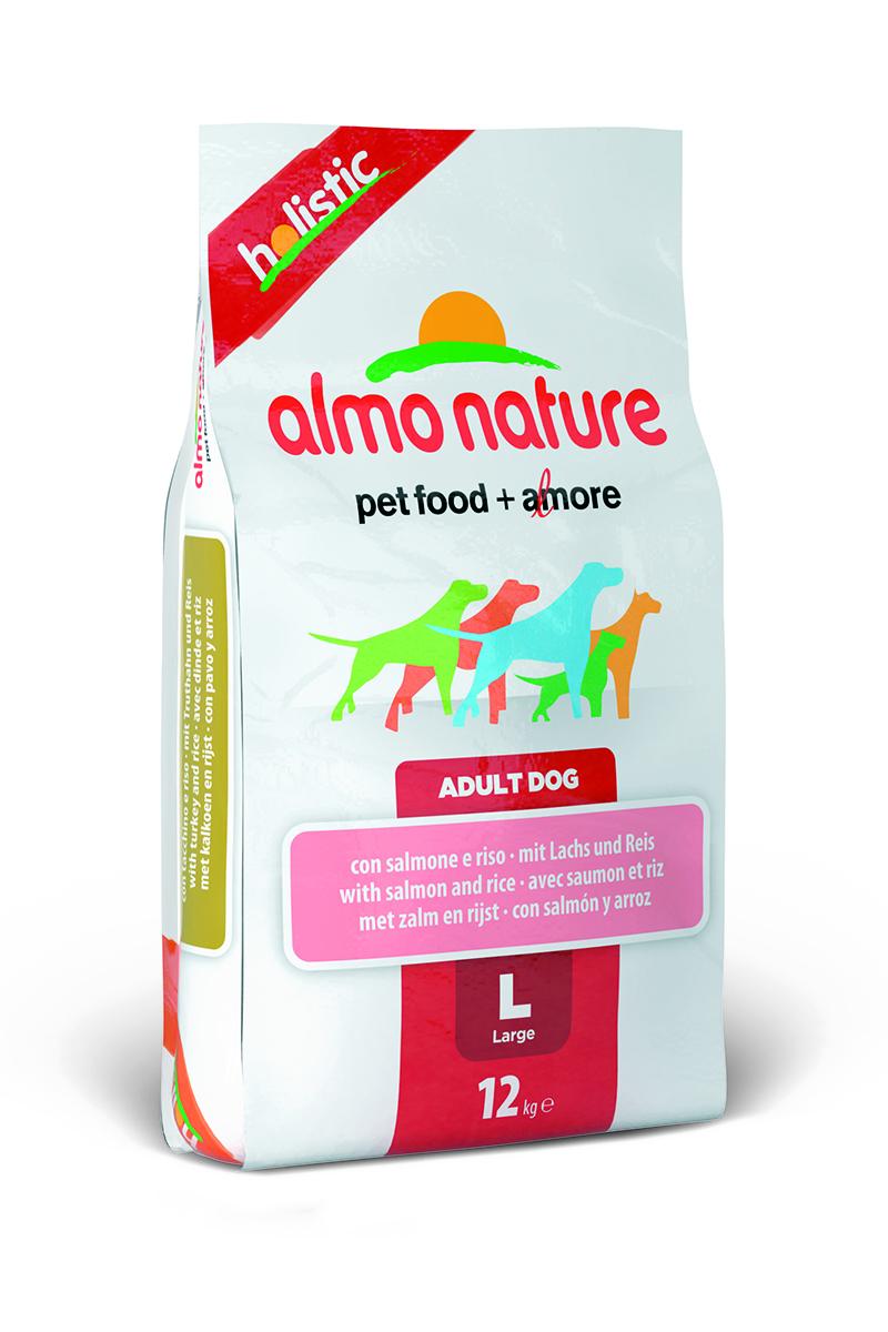Корм сухой Almo Nature Holistic для взрослых собак крупных пород, с лососем, 12 кг10154Полнорационный корм Almo Nature Holistic рекомендован для взрослых собак крупных пород. Корм содержит большой процент свежей рыбы, что обеспечивает необходимым количеством питательных веществ и оптимальным содержанием протеина. Прекрасный вкус обеспечивается за счет свежих натуральных ингредиентов. Не содержит искусственных добавок, красителей, ароматизаторов, консервантов. Состав: мясо лосося - 54% (из которых 26% свежего филе лосося, 27% дегидрированного мяса), злаки, экстракт растительного белка, овощи, масла и жиры, дрожжи, минеральные вещества, аннанолигосахариды (MOS) и фруктоолигосахариды (ФОС), витамин А - 26760 МЕ/кг, витамин D3 - 1800 МЕ/кг, витамин Е - 200 мг/кг.Микроэлементы: витамин A 22000 IU/кг, витамин D3 1400 IU/кг, витамин E 300 мг/кг, витамин B1 12 мг/кг, витамин B2 14 мг/кг, кальций D-пантотенат 20 мг/кг, витамин B6 12 мг/кг, витамин B12 0,15 мг/кг, биотин 0,50 мг/кг, ниацин 25 мг/кг, фолиевая кислота 1 мг/кг, L-карнитин 500 мг/кг, сульфат пентагидрат меди 32 мг/кг, хелат меди аминокислоты гидрат 33 мг/кг, 3b203 1,64 мг/кг, моногидрат сульфата цинка 222 мг/кг, хелат цинка аминокислоты гидрат 267 мг/кг, моногидрат сульфата марганца 20 мг/кг, органический селен 80 мг/кг. Гарантированный анализ: белки - 25%, клетчатка - 3,5%, жиры - 15%, зола - 8%, влажность - 8,5%.Калорийность: 3550 ккал/кг.Товар сертифицирован.